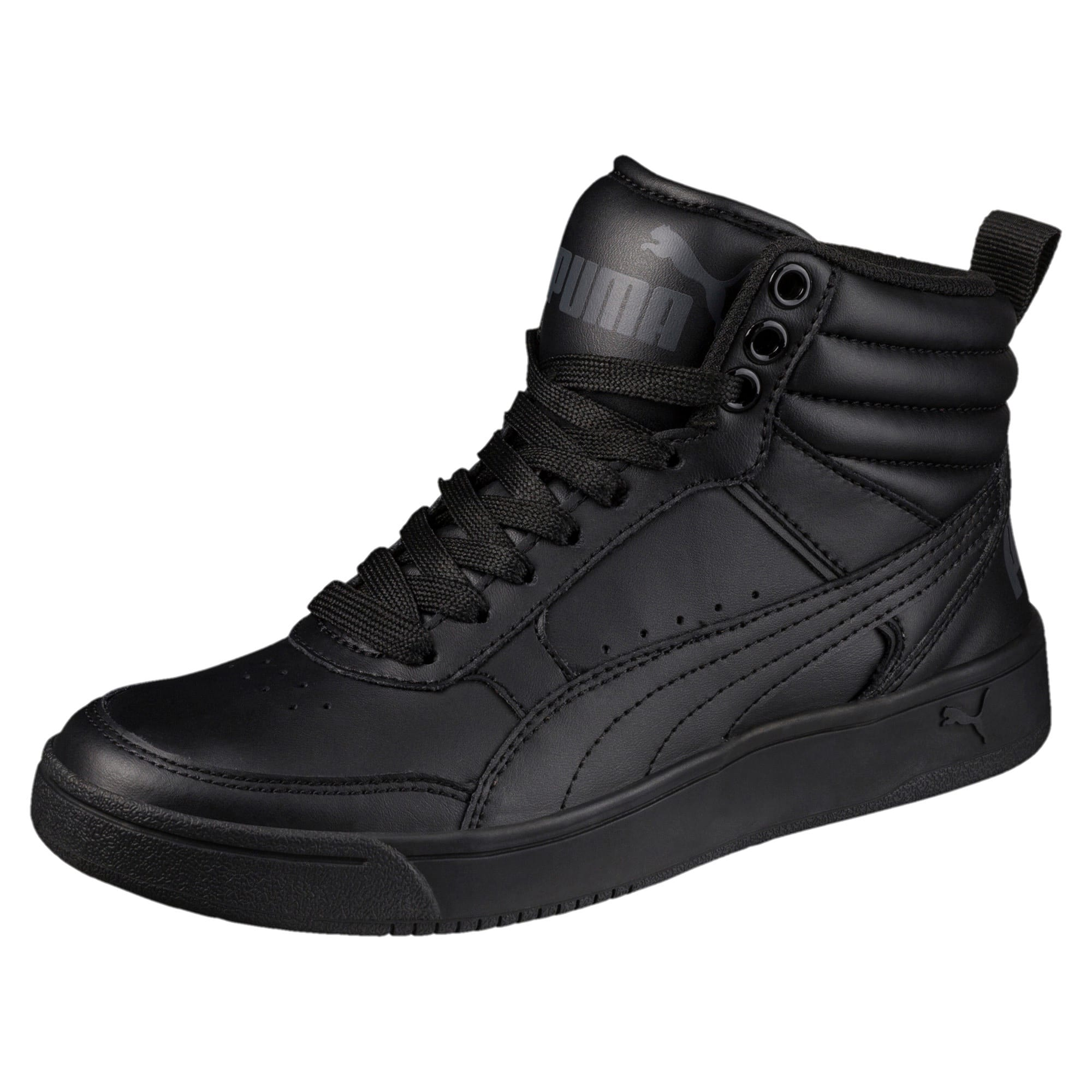 Thumbnail 1 of Rebound Street v2 Leather Kids' High Tops, Puma Black-Puma Black, medium-IND