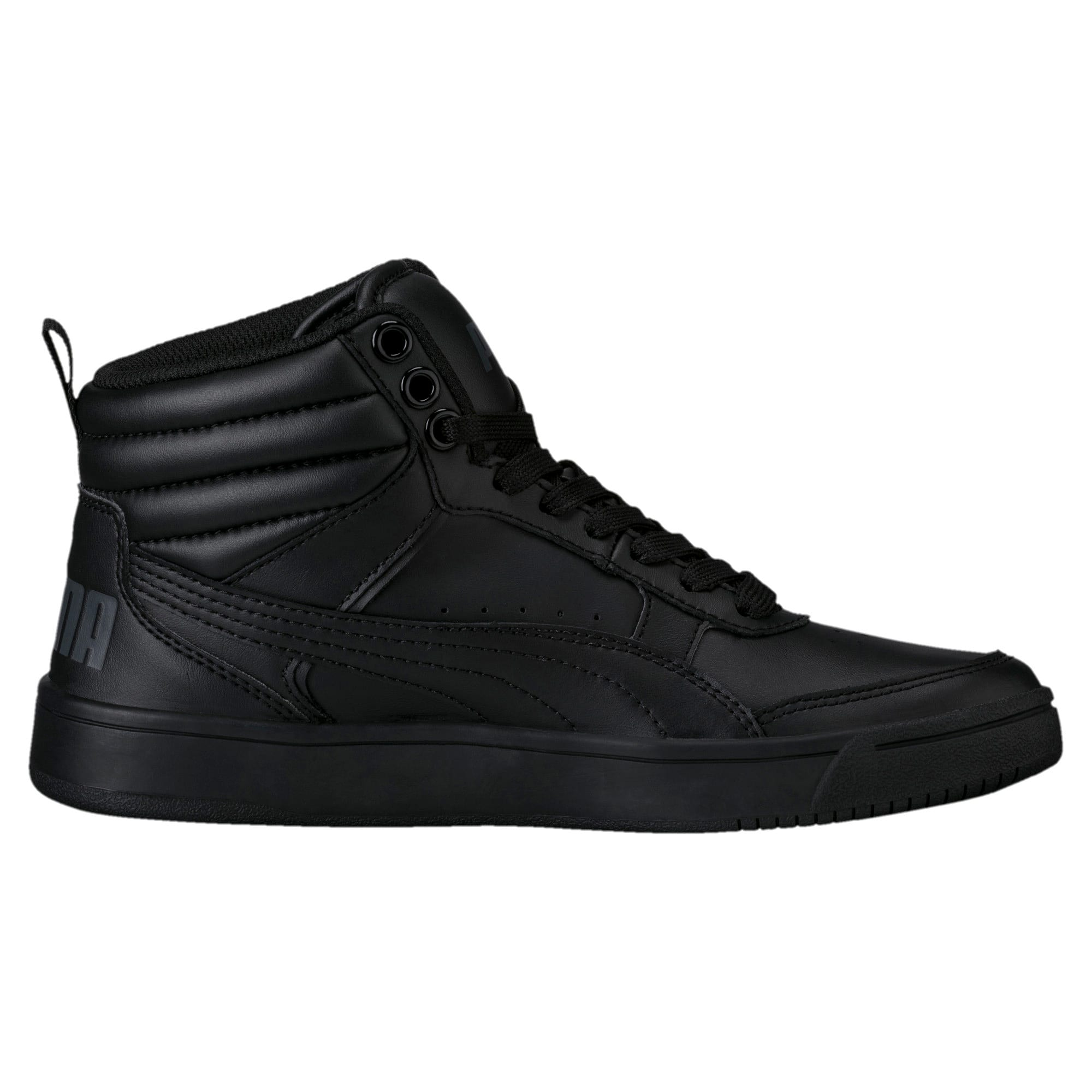 Thumbnail 4 of Rebound Street v2 Leather Kids' High Tops, Puma Black-Puma Black, medium-IND