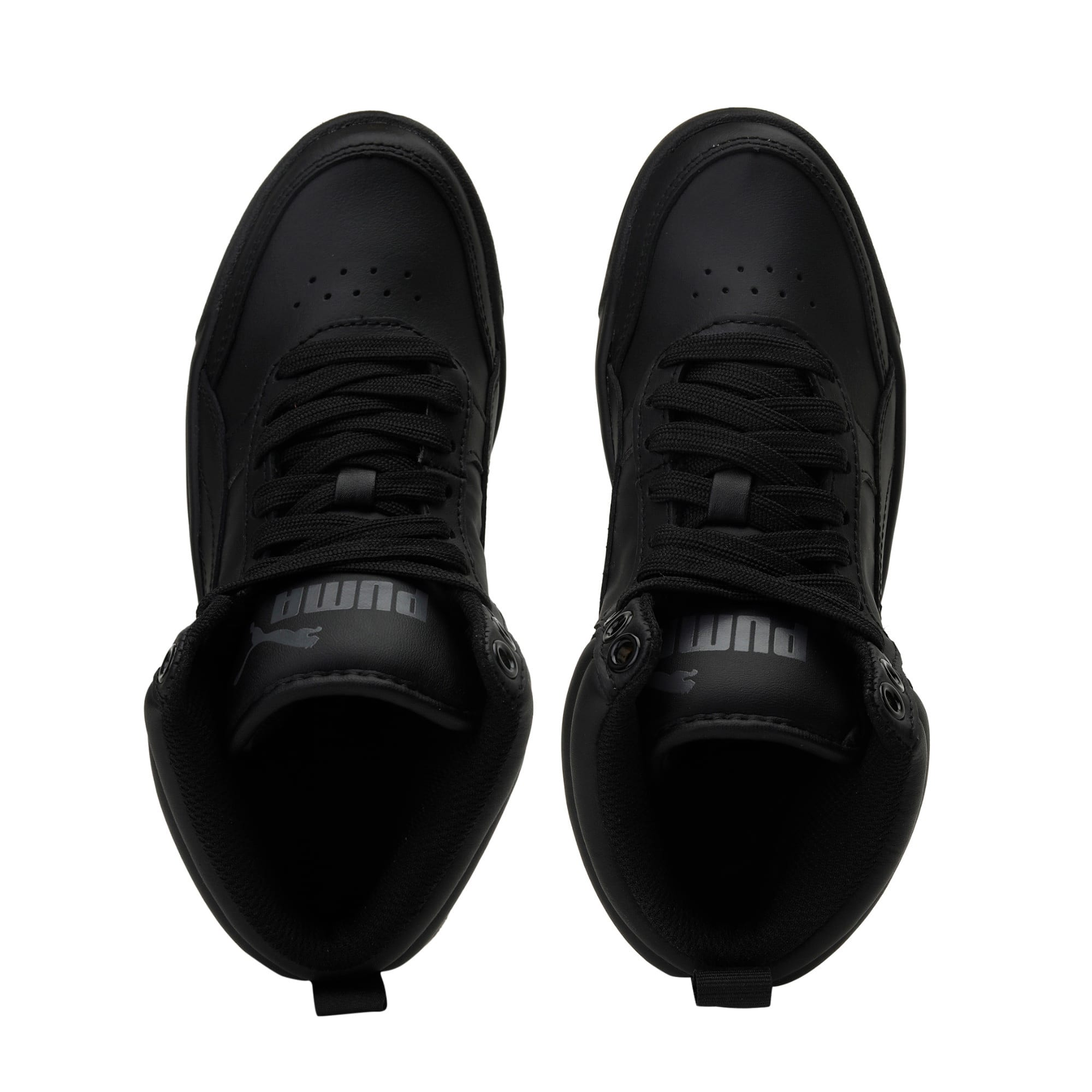 Thumbnail 6 of Rebound Street v2 Leather Kids' High Tops, Puma Black-Puma Black, medium-IND