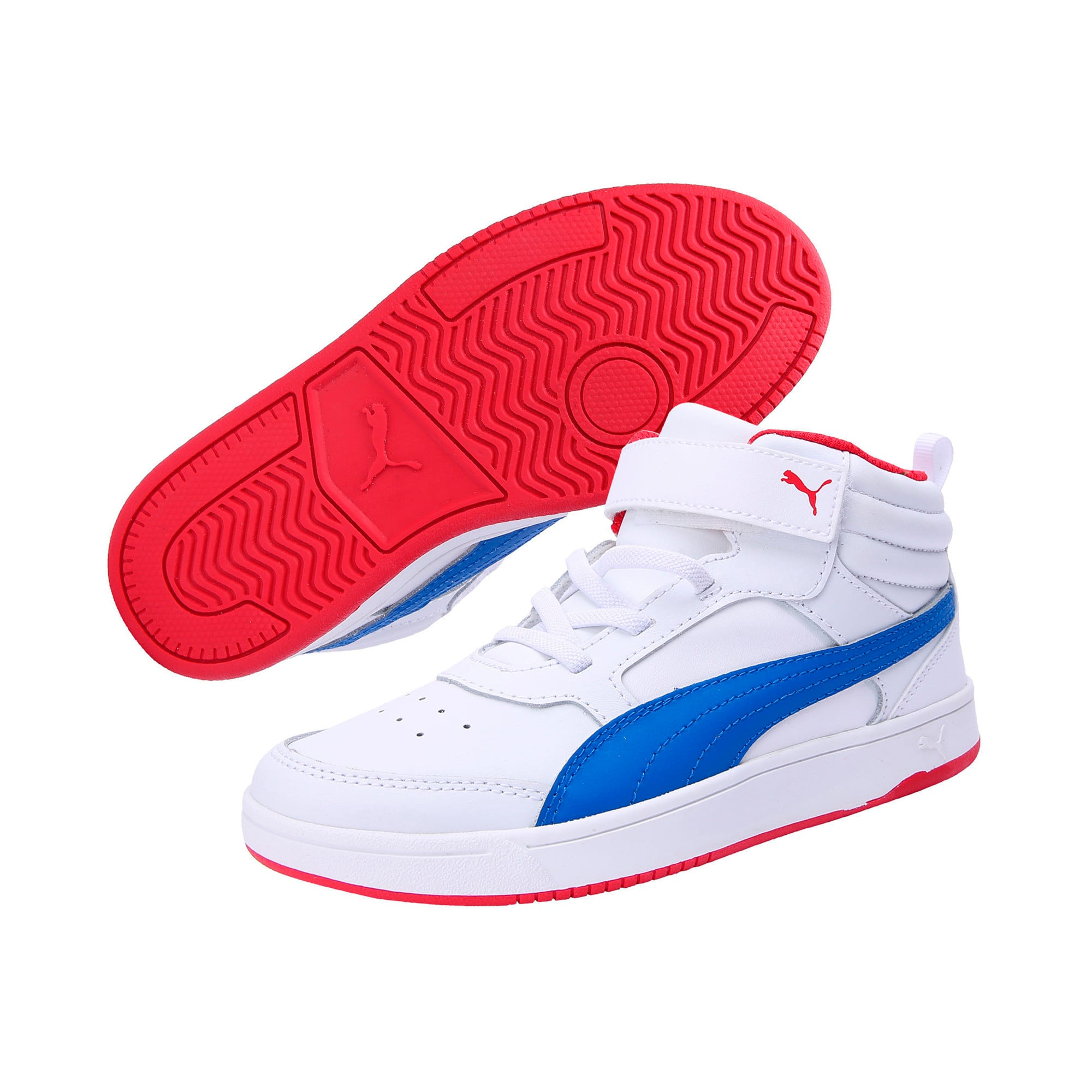 Thumbnail 2 of PumaReboundStreet2 L V PS, White-Strng Blue-Rbbn Red, medium-IND