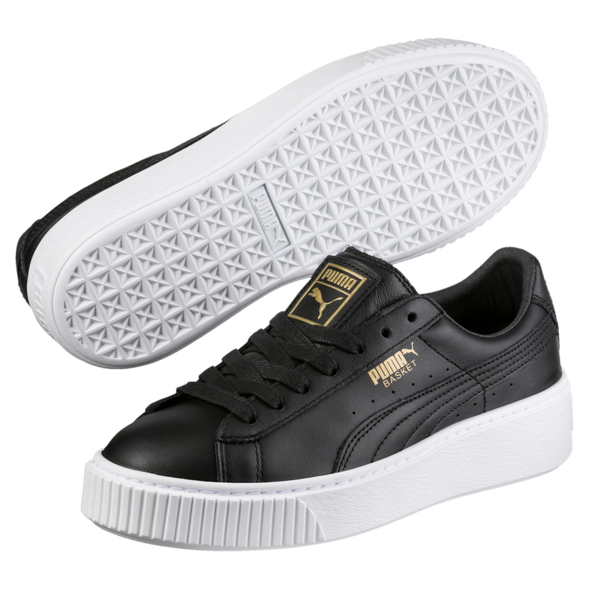 Thumbnail 2 of Basket Platform Core Damen Sneaker, Puma Black-Gold, medium