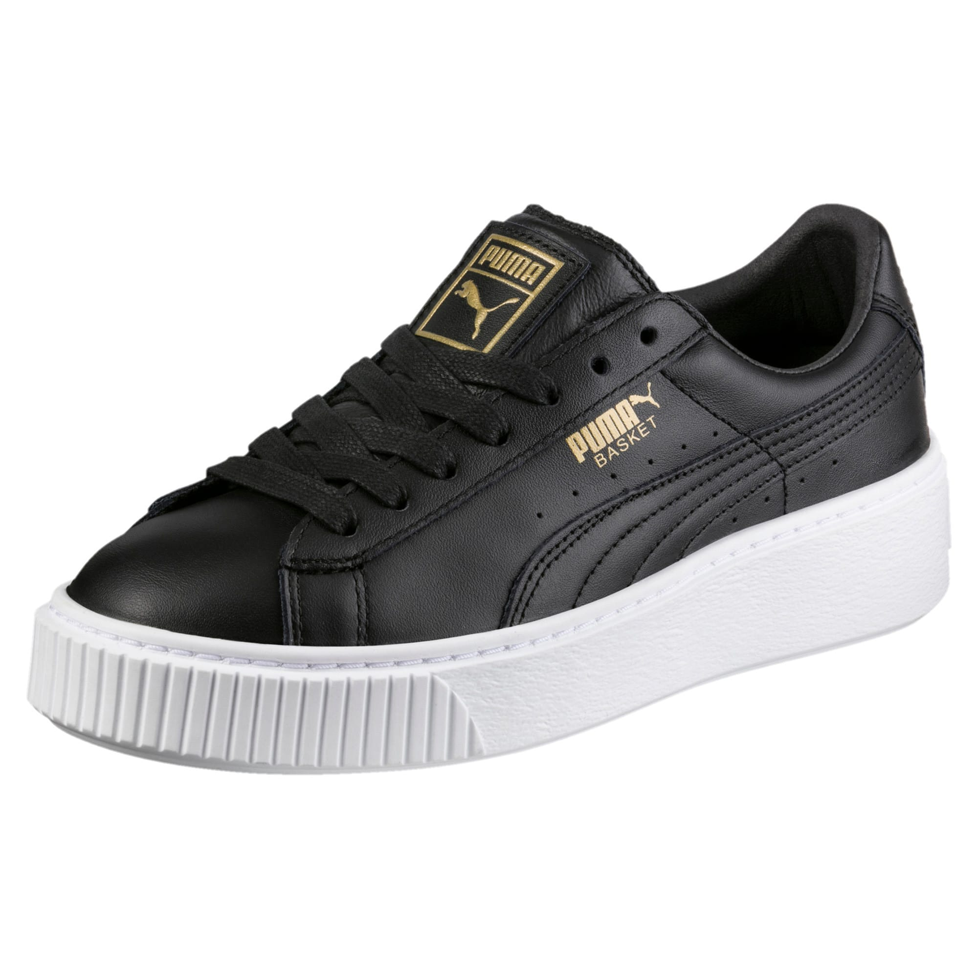 Thumbnail 1 of Basket Platform Core Women's Trainers, Puma Black-Gold, medium