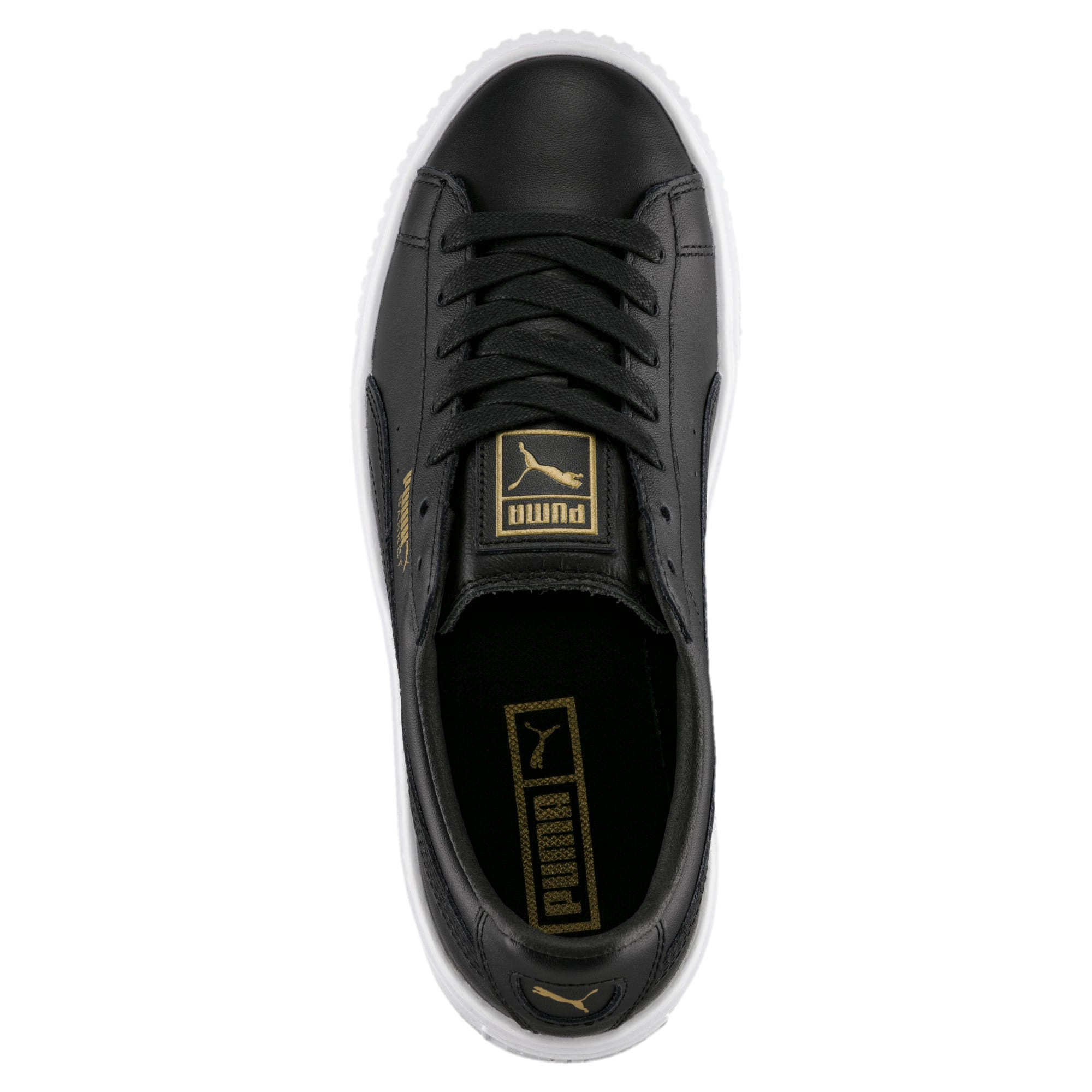 Thumbnail 5 of Basket Platform Core Women's Trainers, Puma Black-Gold, medium