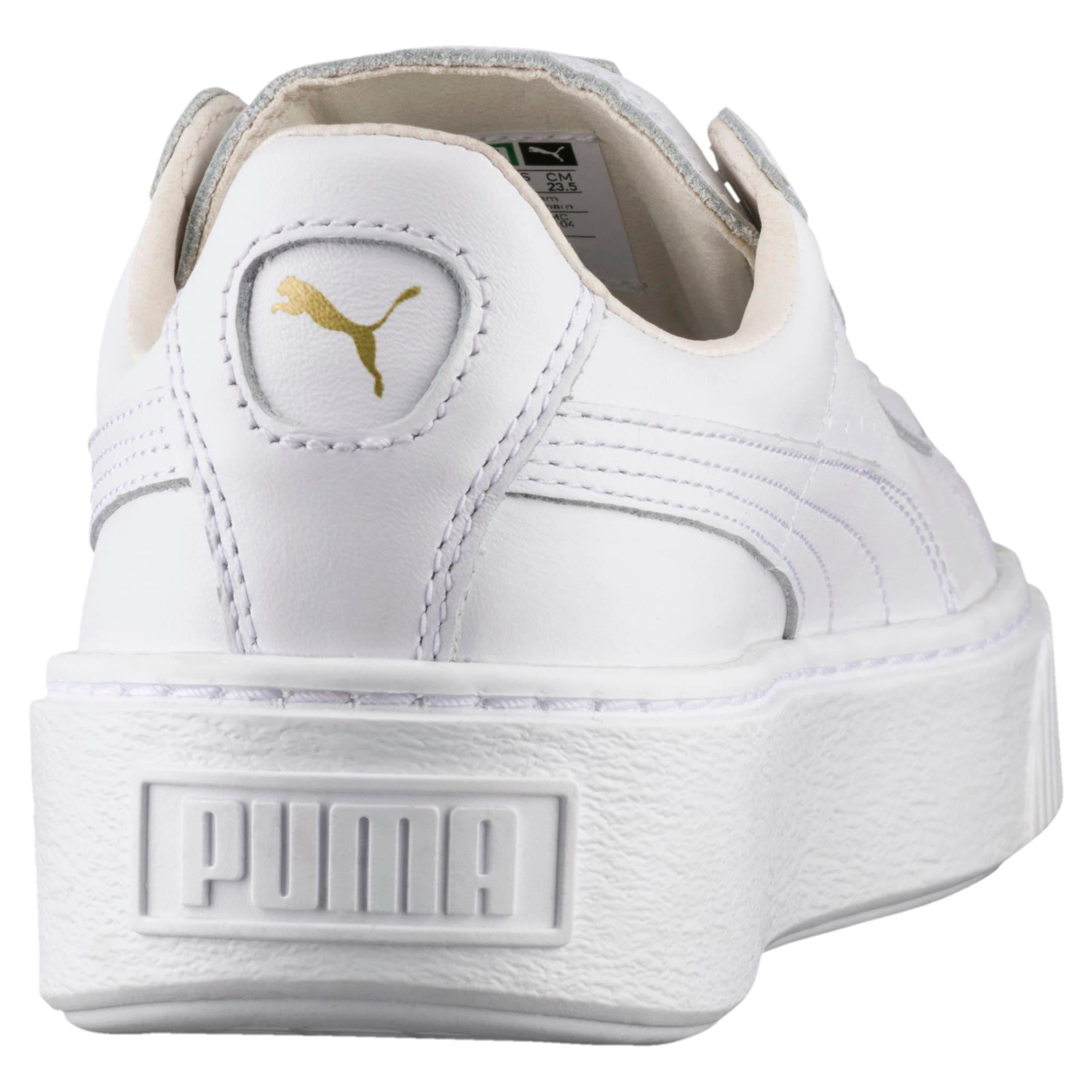 Thumbnail 4 of Basket Platform Core Women's Sneakers, Puma White-Gold, medium