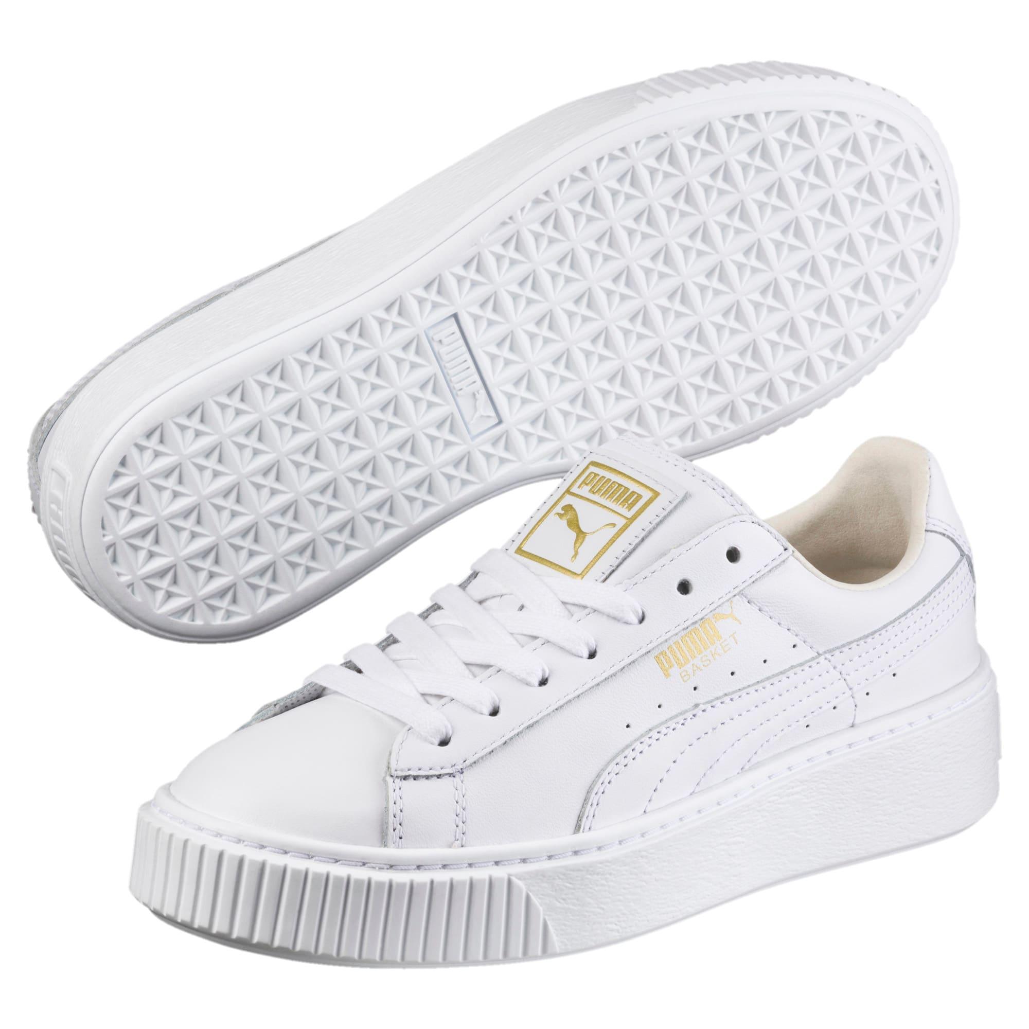 Thumbnail 2 of Basket Platform Core Women's Sneakers, Puma White-Gold, medium