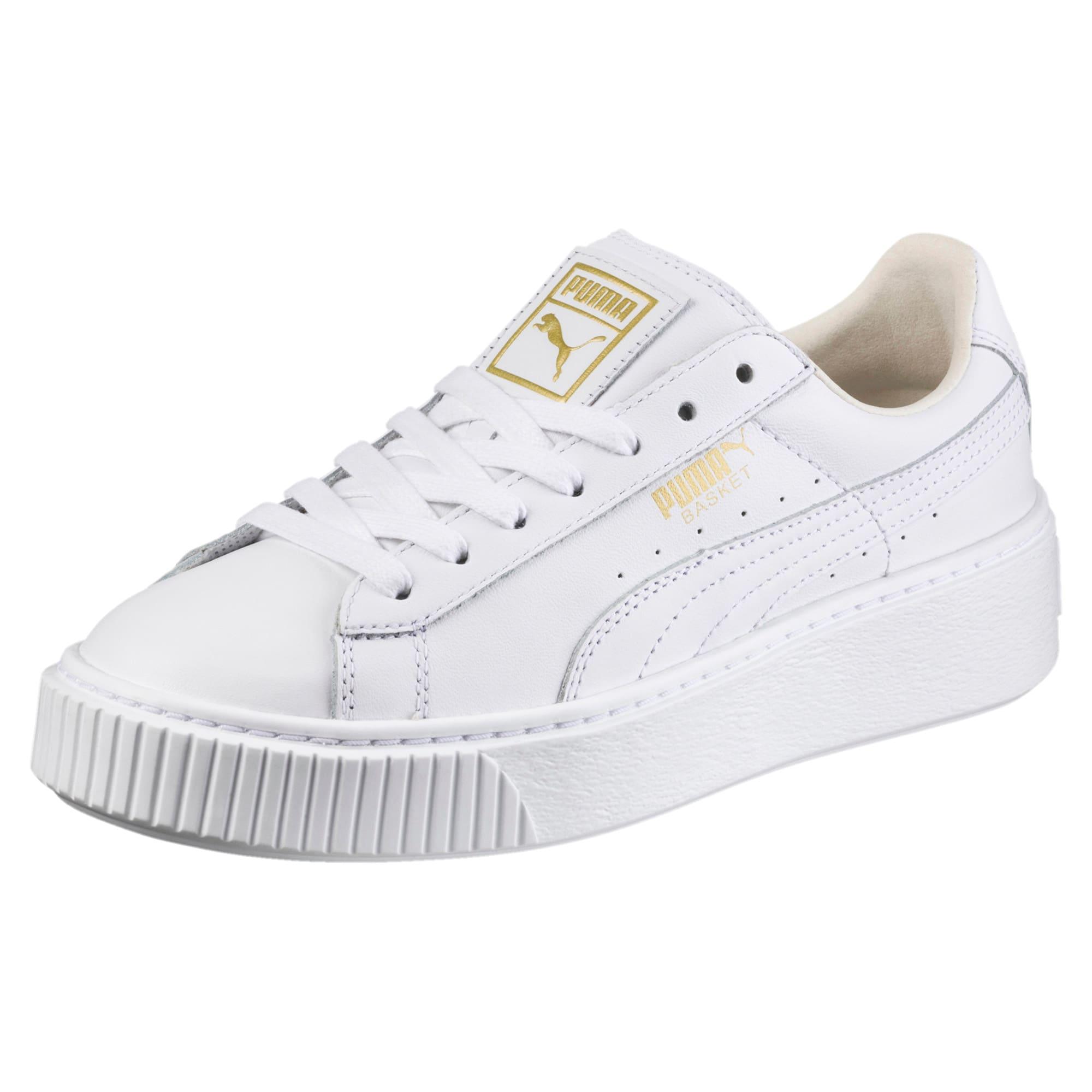 Thumbnail 1 of Basket Platform Core Women's Sneakers, Puma White-Gold, medium