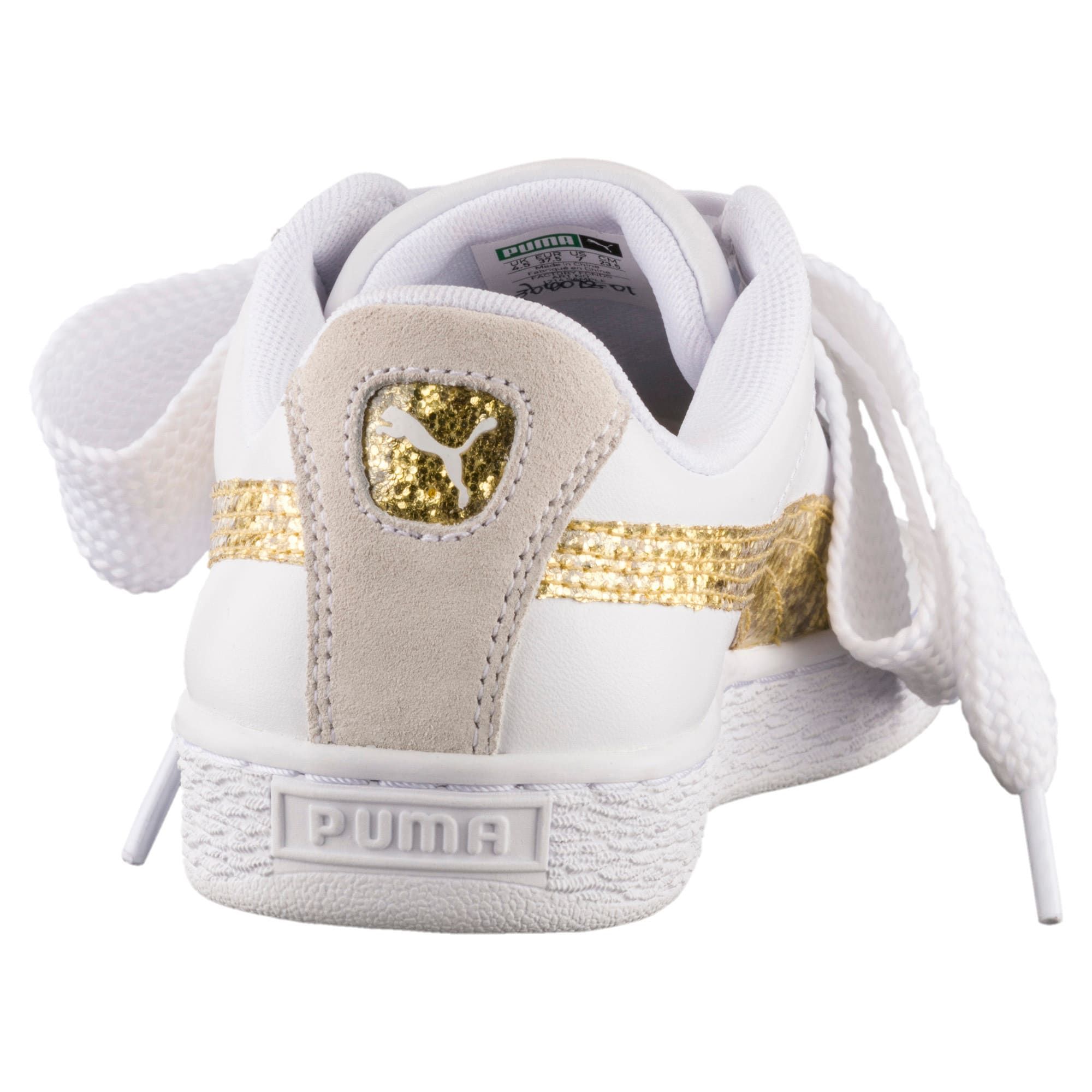 Thumbnail 4 of Basket Heart Glitter Women's Trainers, Puma White-Gold, medium-IND
