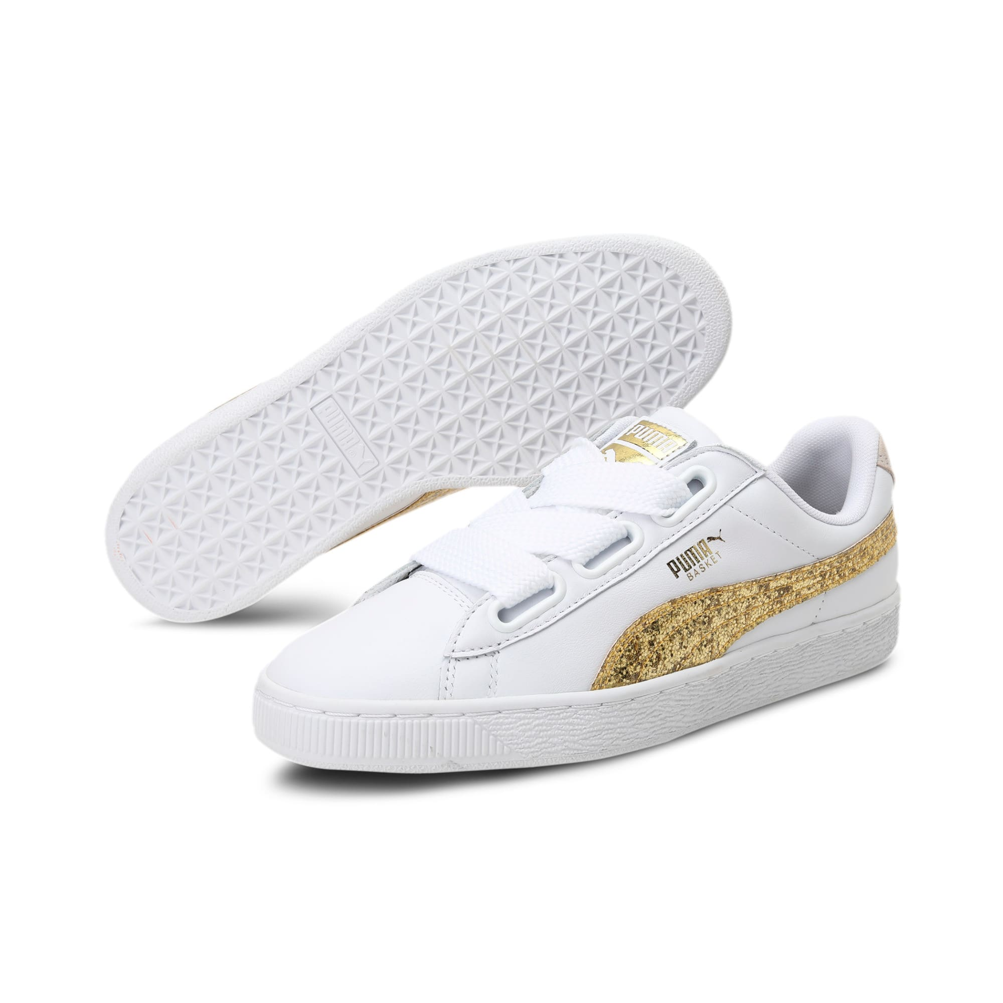 Thumbnail 2 of Basket Heart Glitter Women's Trainers, Puma White-Gold, medium-IND