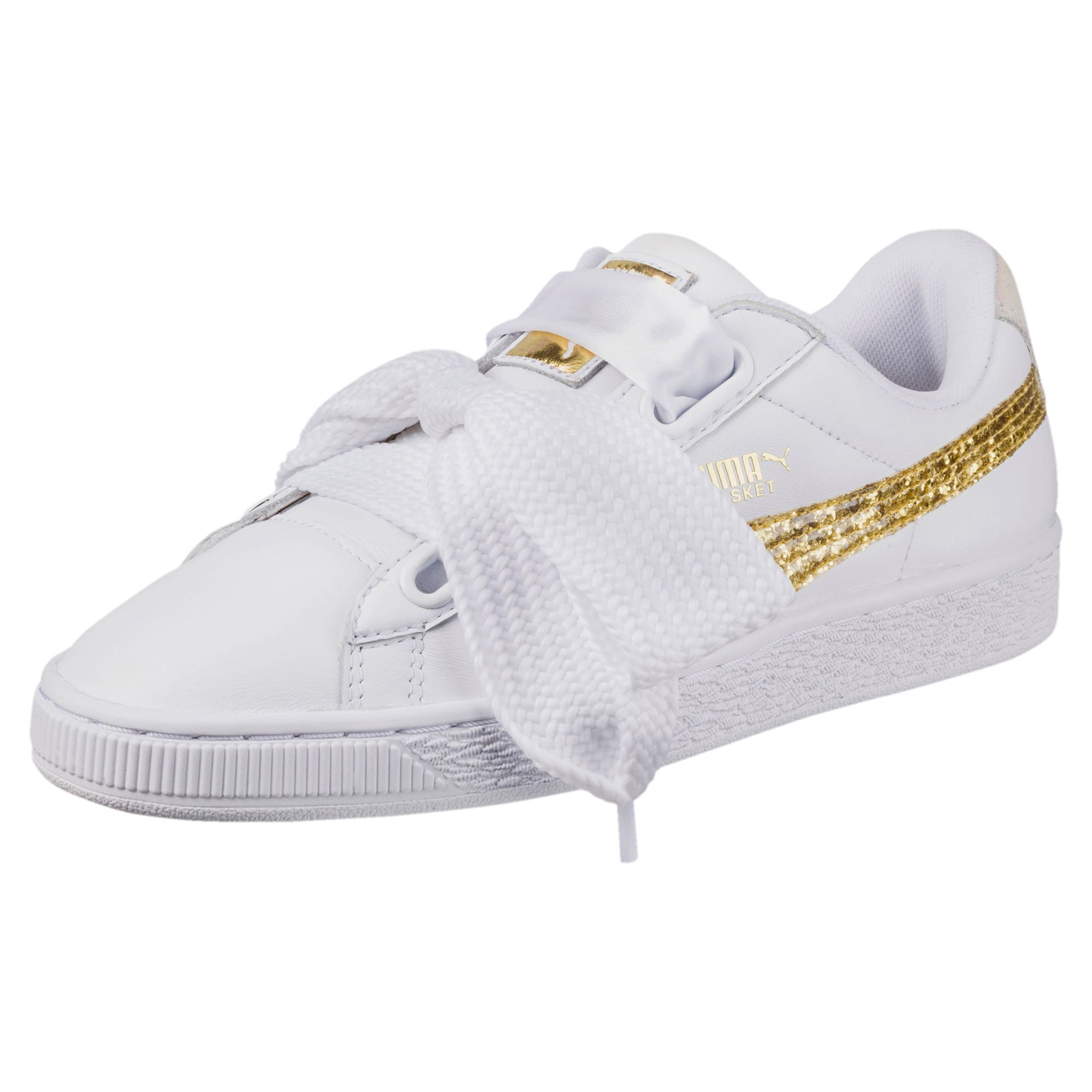 Thumbnail 1 of Basket Heart Glitter Women's Trainers, Puma White-Gold, medium-IND