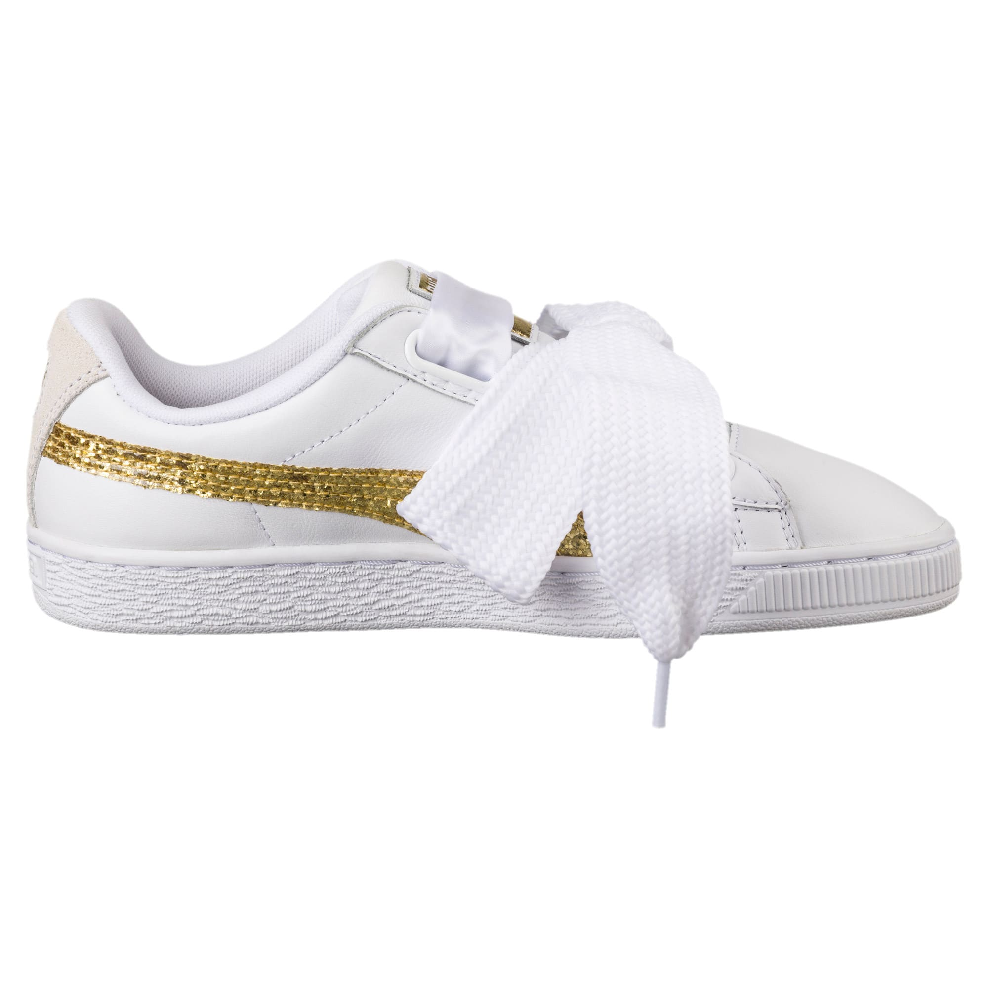 Thumbnail 3 of Basket Heart Glitter Women's Trainers, Puma White-Gold, medium-IND
