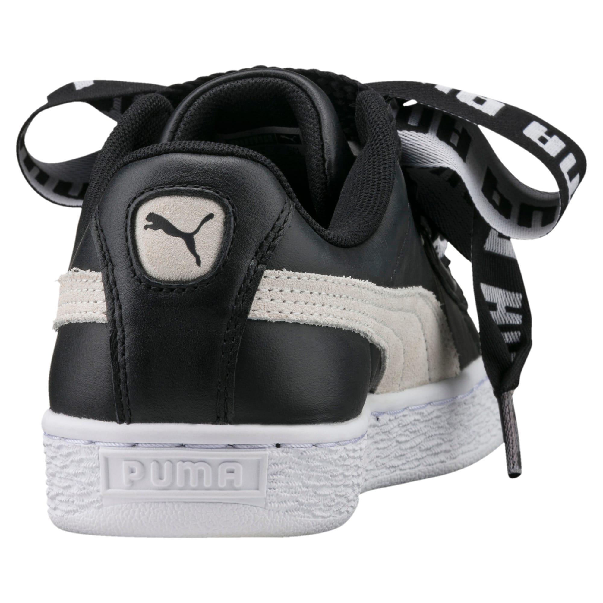 Thumbnail 4 of Basket Heart DE Women's Sneakers, Puma Black-Puma White, medium