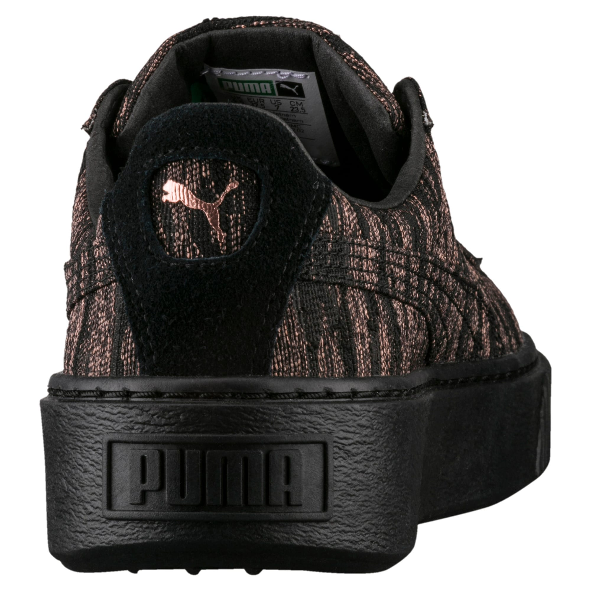 Thumbnail 3 of Basket Platform Velvet Rope Women's Trainers, Puma Black-Puma Black, medium-IND