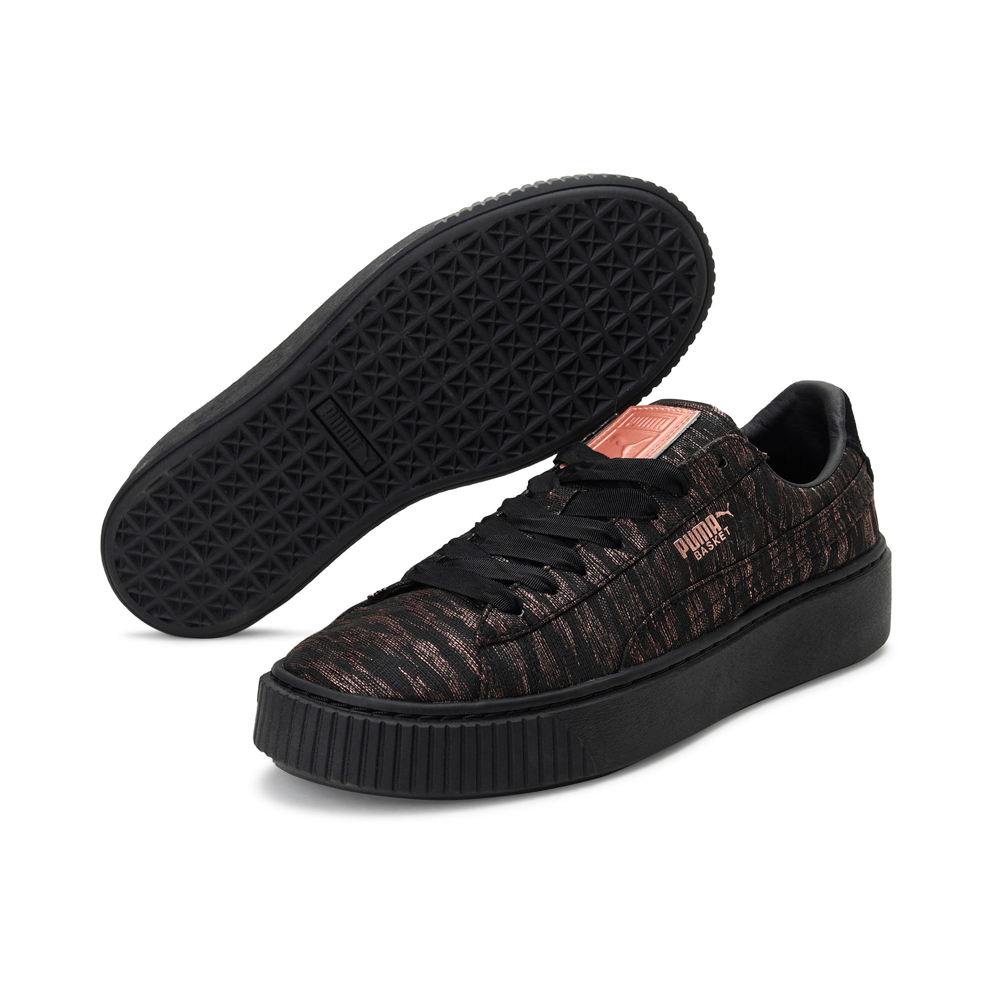 Thumbnail 2 of Basket Platform Velvet Rope Women's Trainers, Puma Black-Puma Black, medium-IND