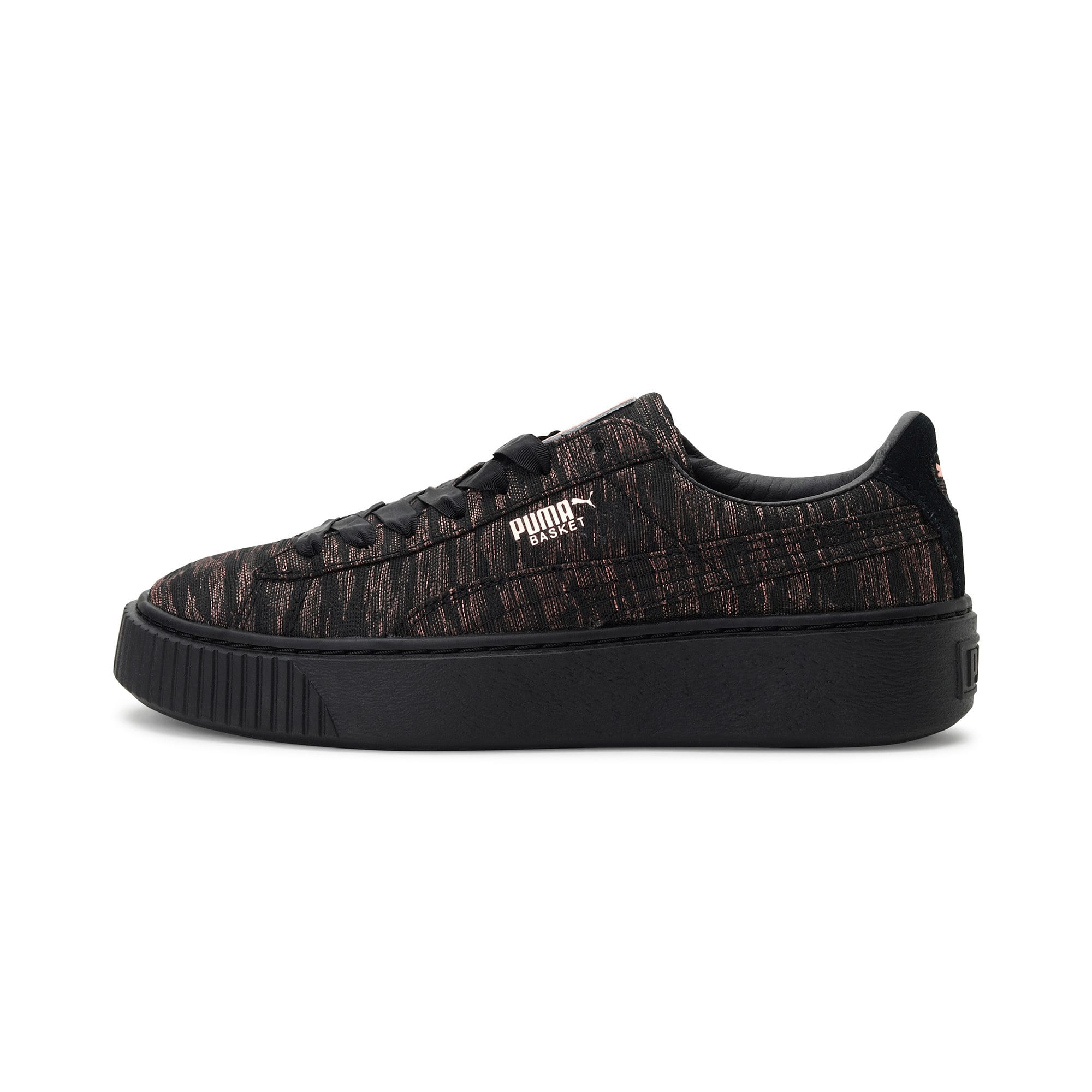 Thumbnail 1 of Basket Platform Velvet Rope Women's Trainers, Puma Black-Puma Black, medium-IND