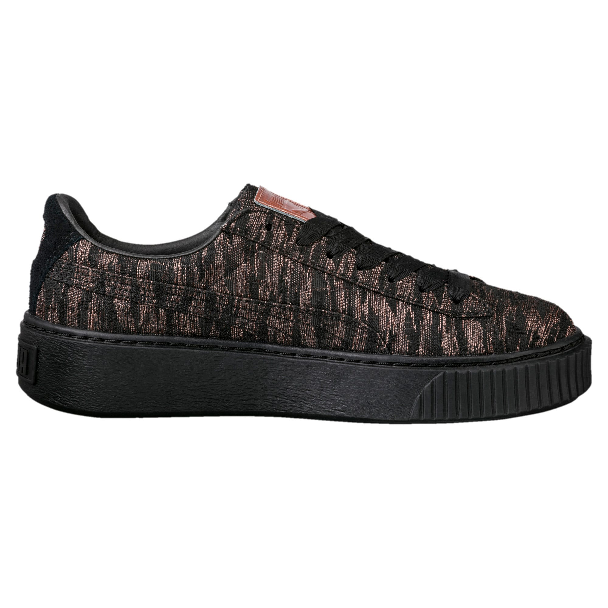 Thumbnail 4 of Basket Platform Velvet Rope Women's Trainers, Puma Black-Puma Black, medium-IND