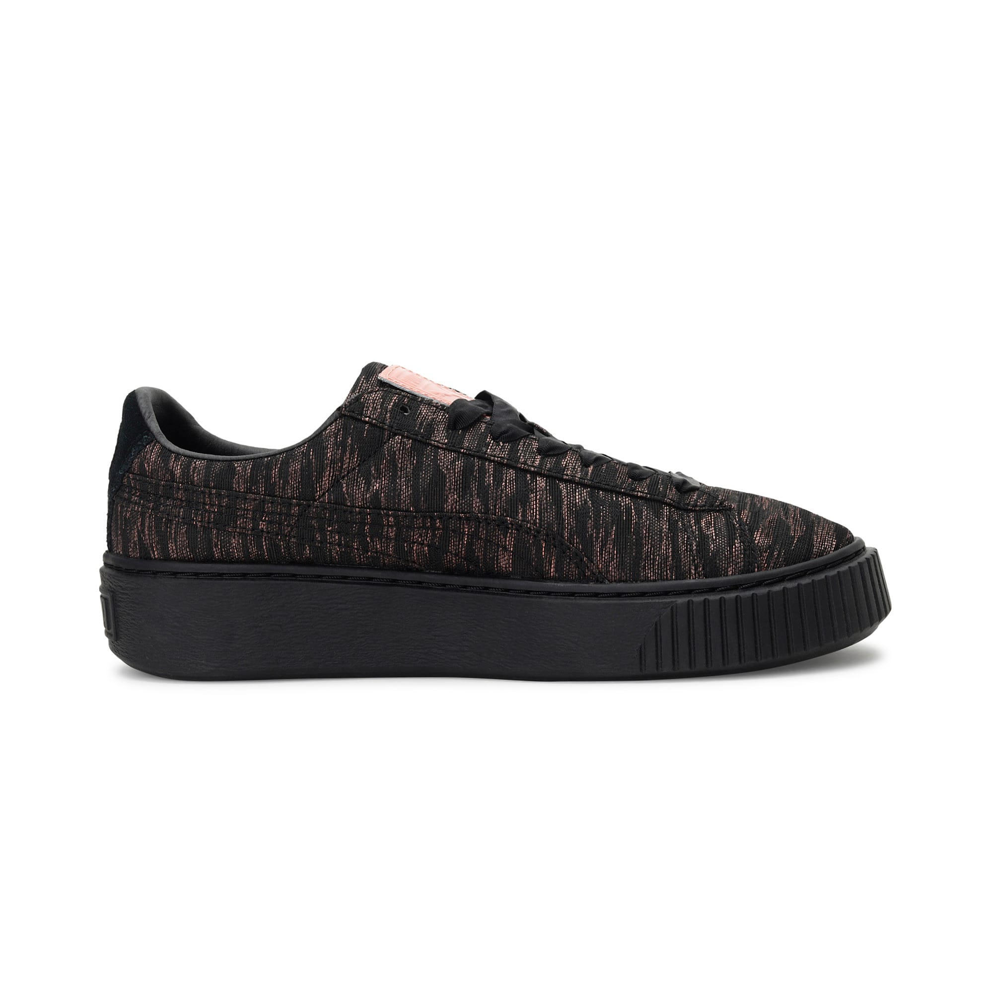 Thumbnail 5 of Basket Platform Velvet Rope Women's Trainers, Puma Black-Puma Black, medium-IND