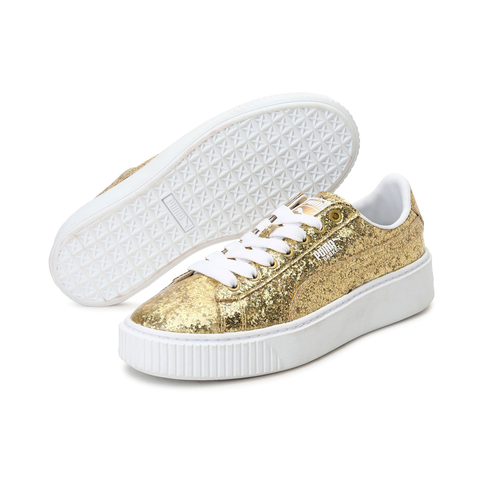 Thumbnail 2 of Basket Platform Glitter Women's Trainers, Gold-Gold, medium-IND