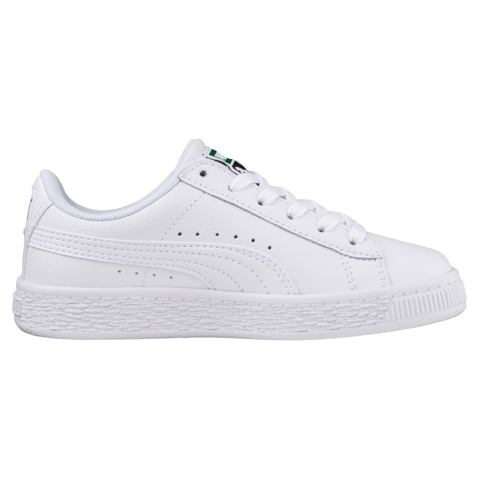 Thumbnail 4 of Basket Classic Sneakers JR, Puma White-Puma White, medium
