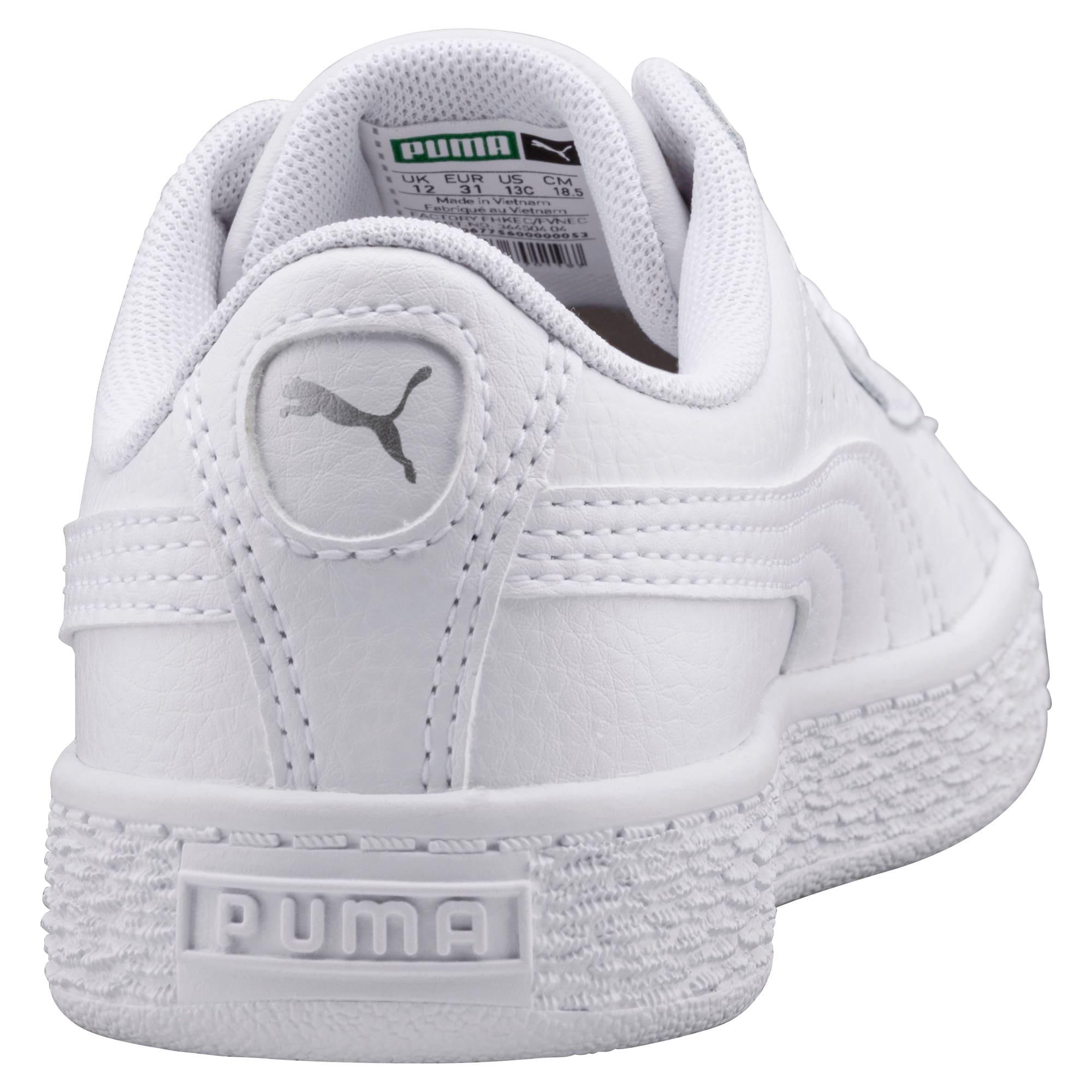 Thumbnail 3 of Basket Classic Kinder Sneaker, Puma White-Puma White, medium