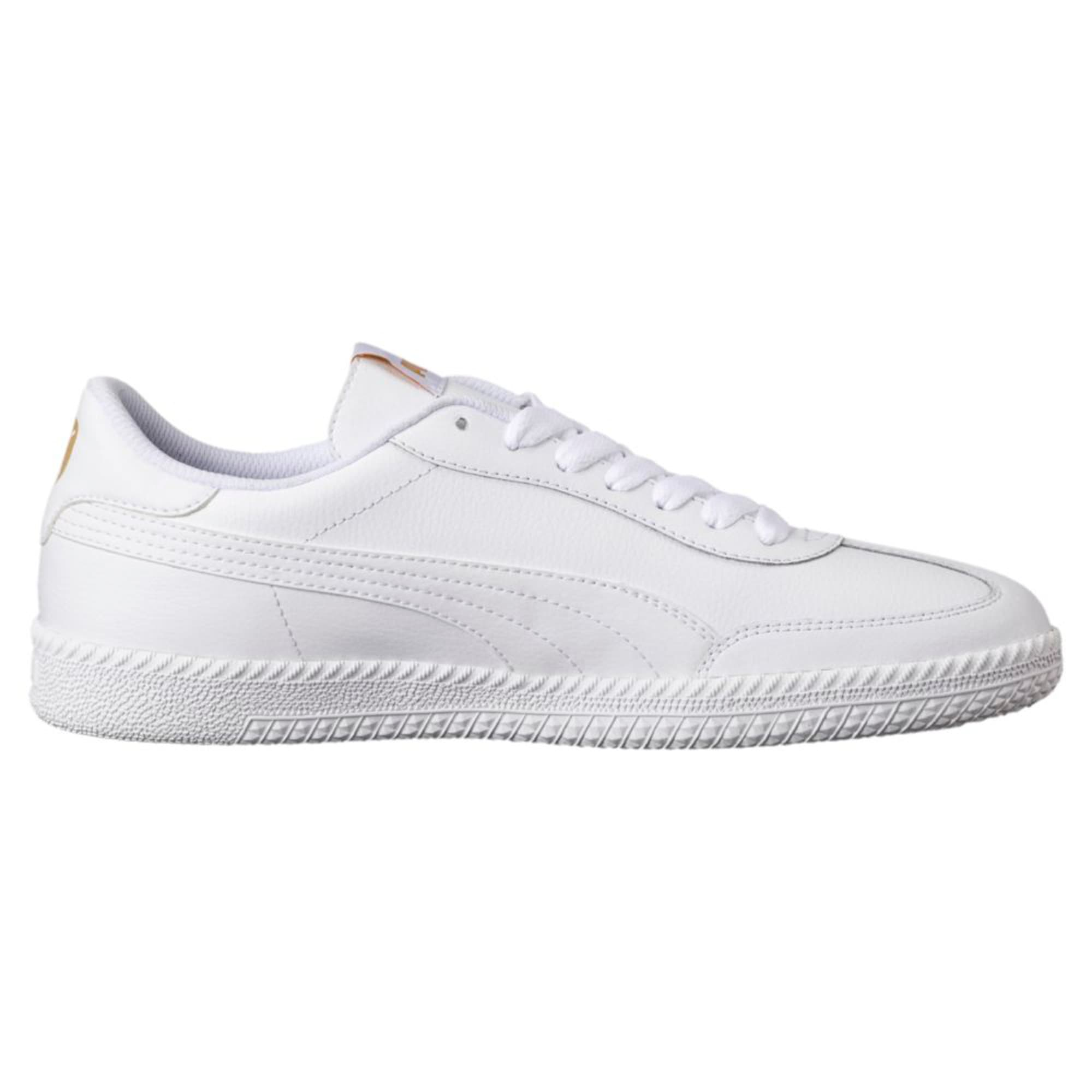 Thumbnail 2 of Astro Cup Leather Trainers, Puma White-Puma White, medium-IND