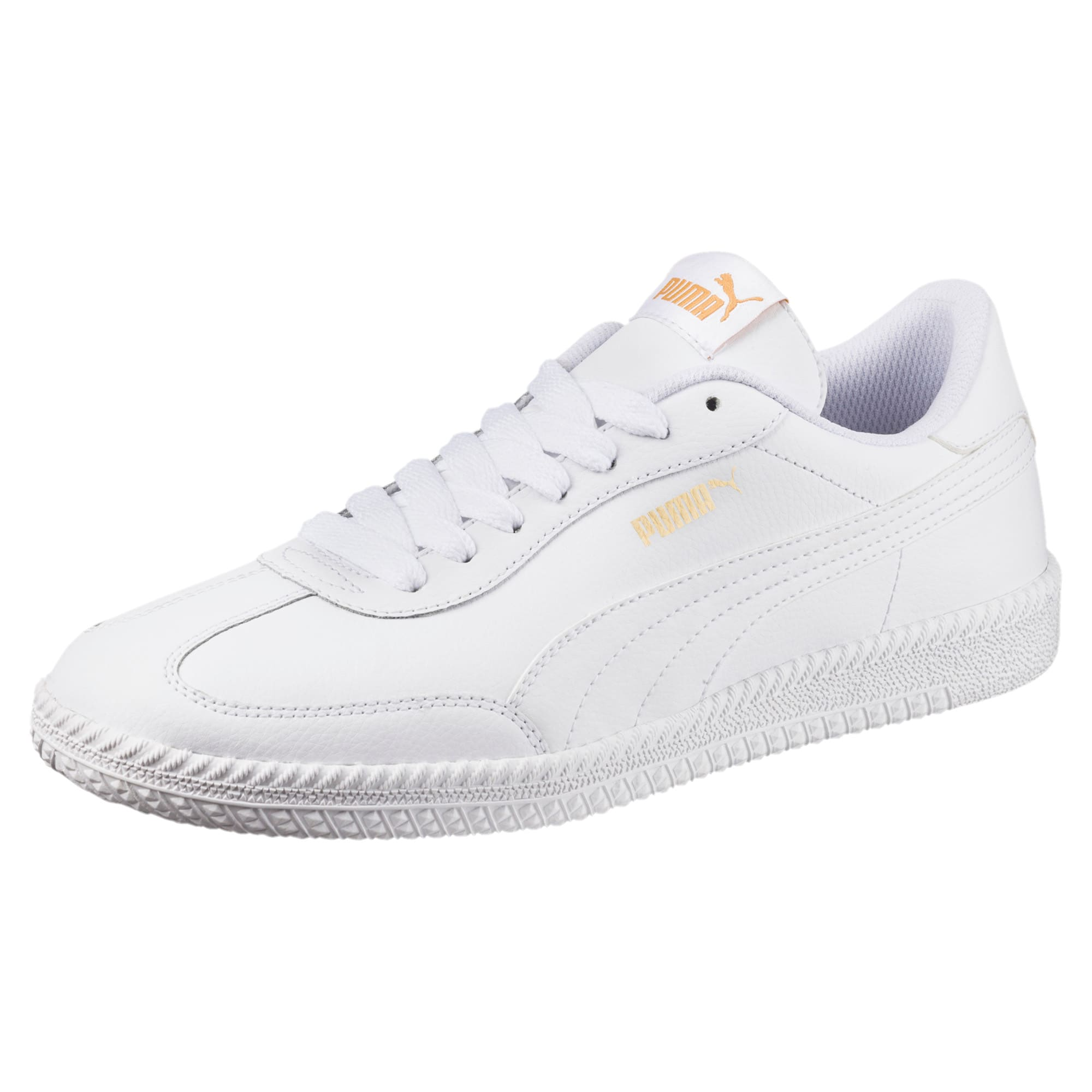 Thumbnail 1 of Astro Cup Leather Trainers, Puma White-Puma White, medium-IND