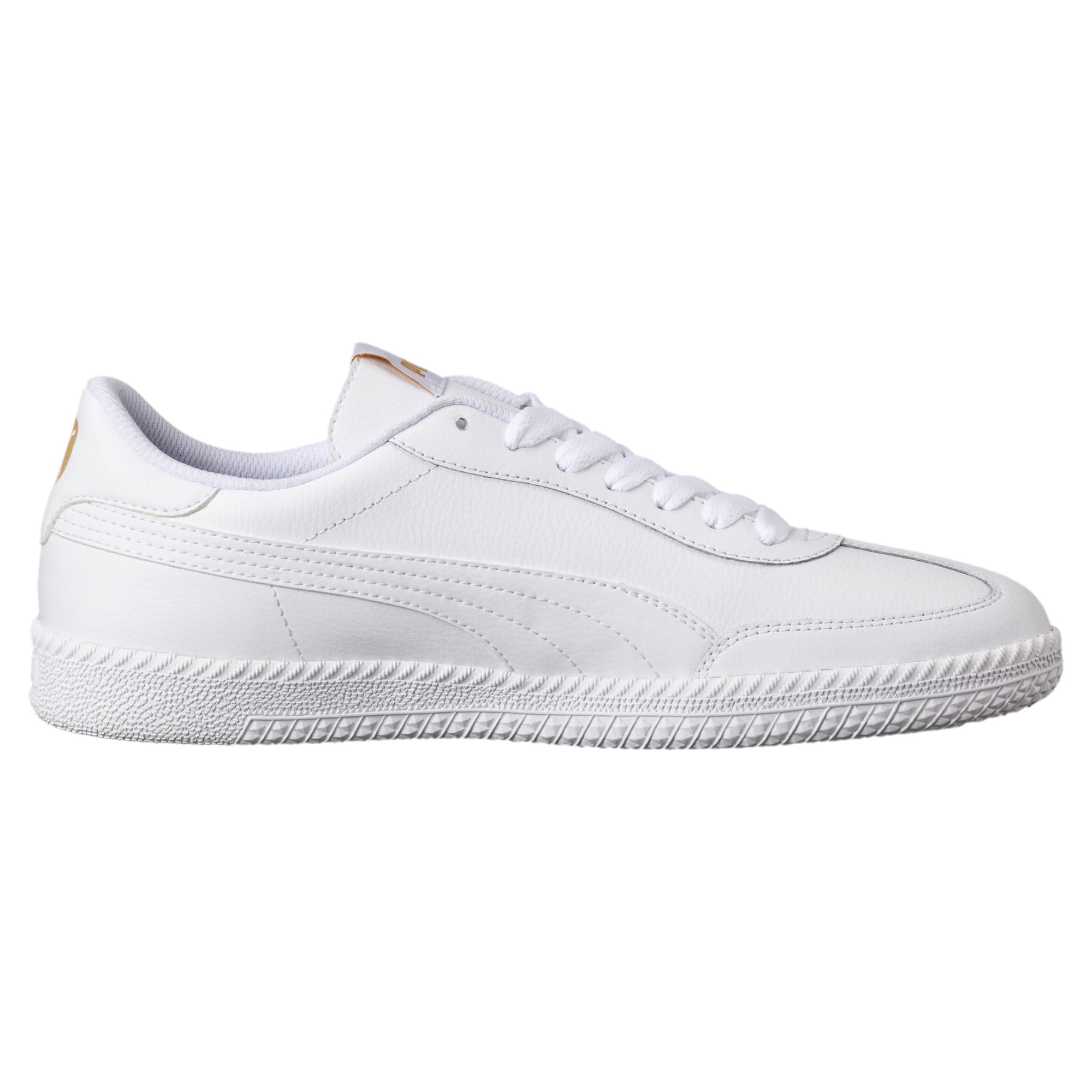 Thumbnail 4 of Astro Cup Leather Trainers, Puma White-Puma White, medium-IND