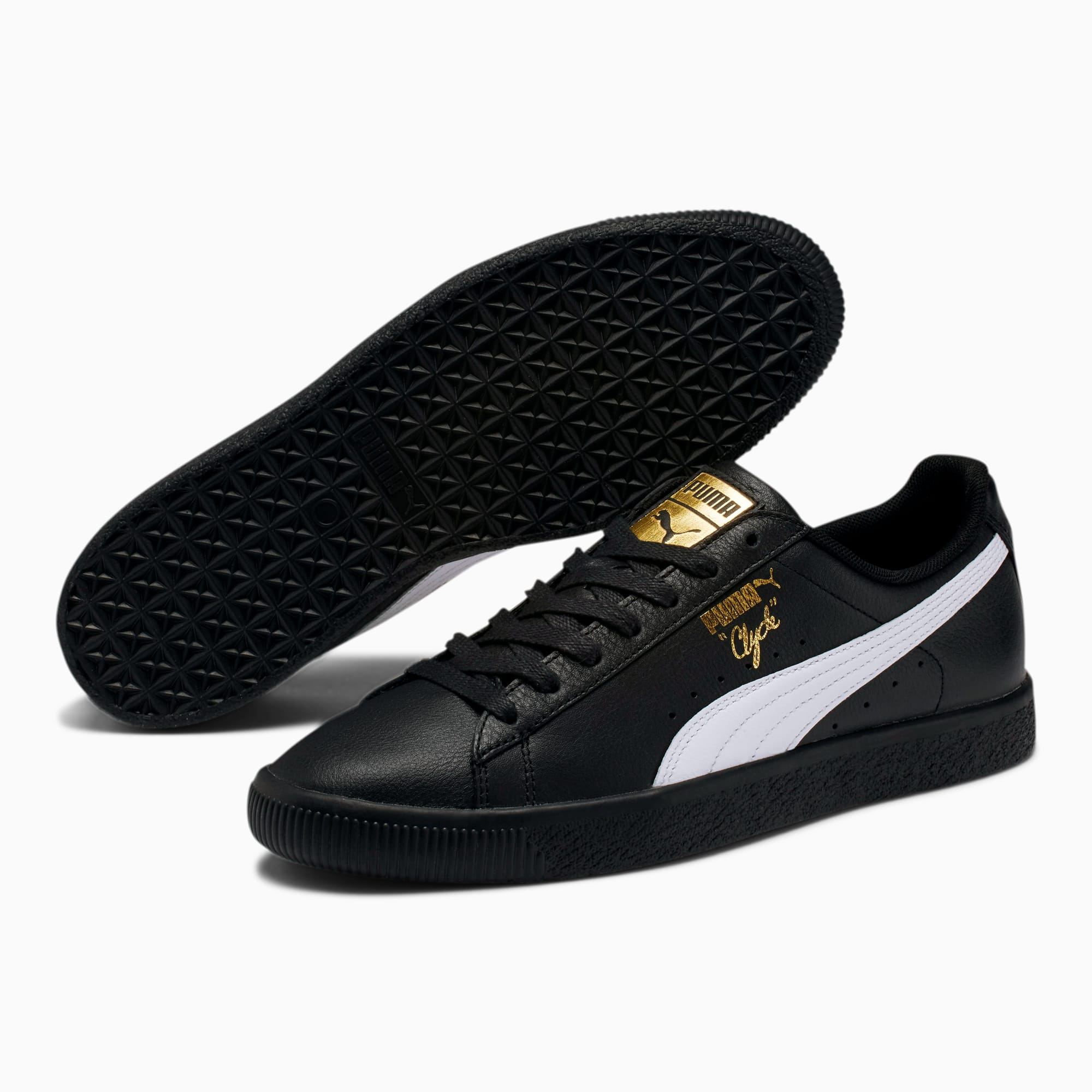 puma clyde core foil leather sneaker