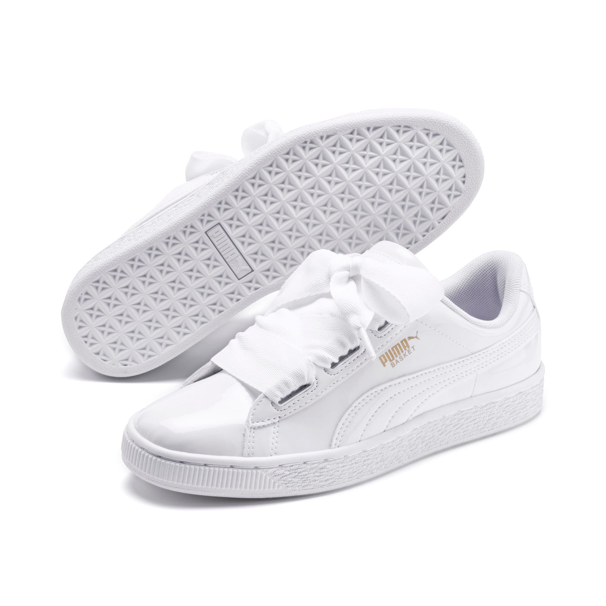 Thumbnail 2 of Basket Heart Patent Sneakers JR, White-Black-PRISM PINK-Gold, medium