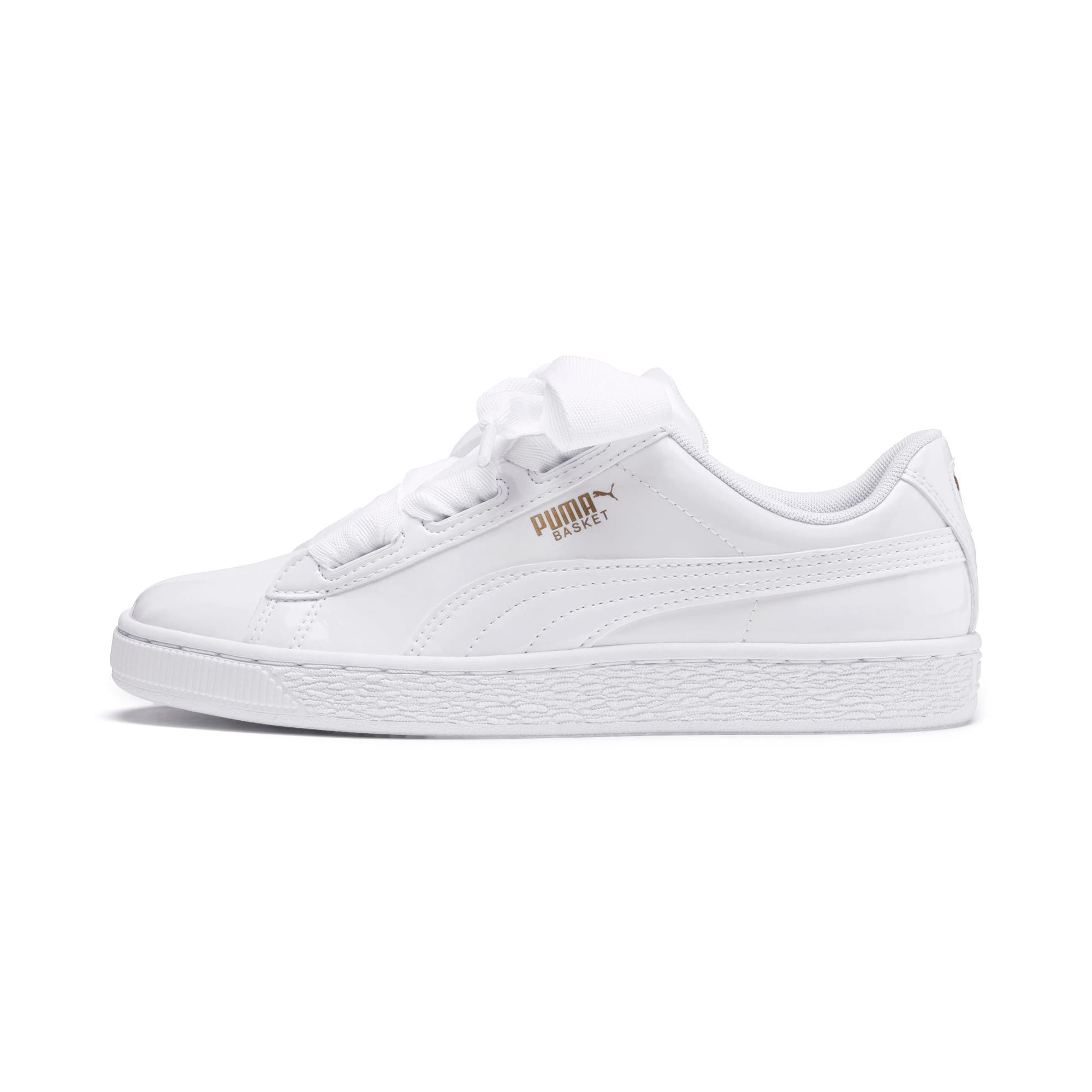 Thumbnail 1 of Basket Heart Patent Sneakers JR, White-Black-PRISM PINK-Gold, medium