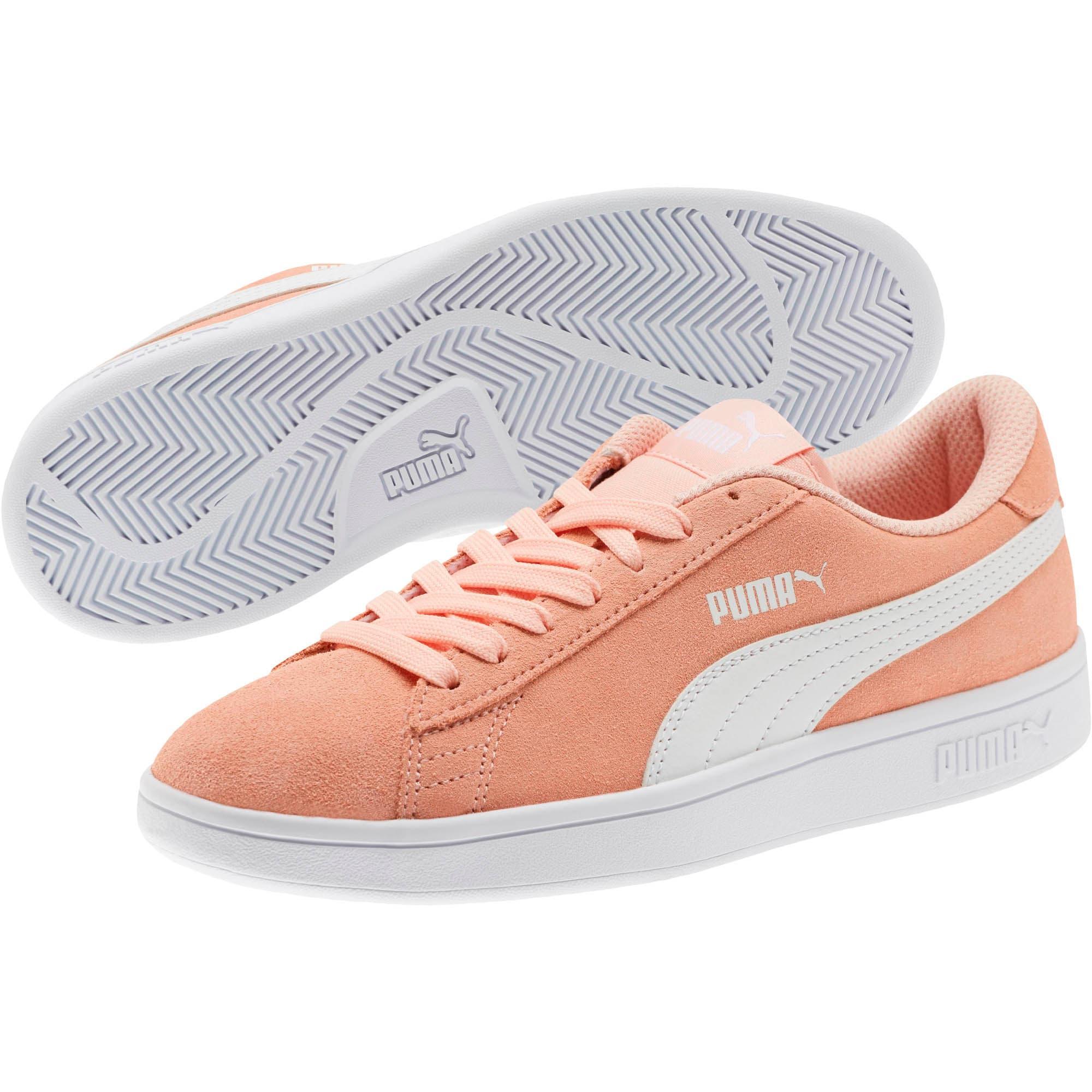 Thumbnail 2 of Smash v2 Suede Sneakers JR, Peach Bud-Puma White, medium