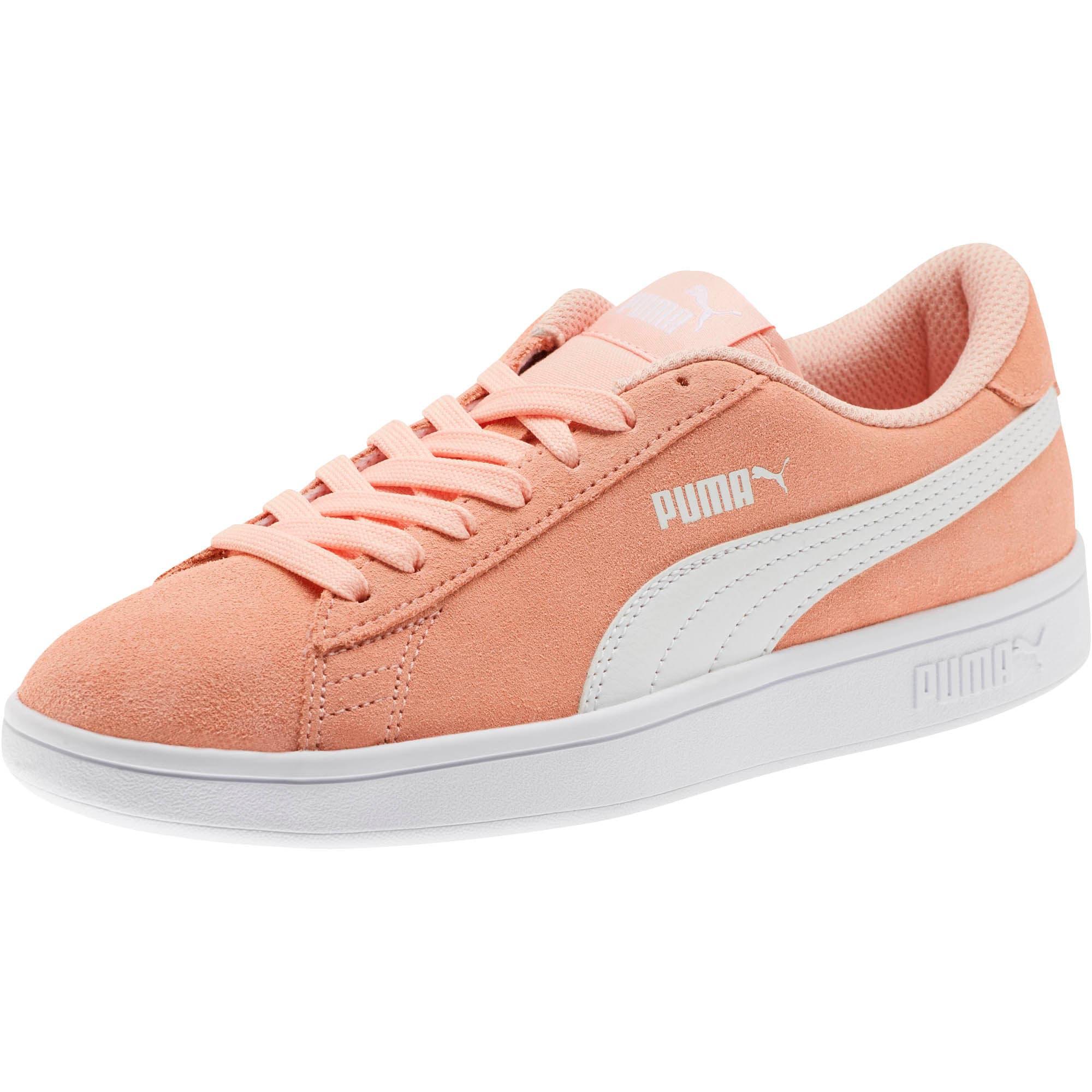 Thumbnail 1 of Smash v2 Suede Sneakers JR, Peach Bud-Puma White, medium
