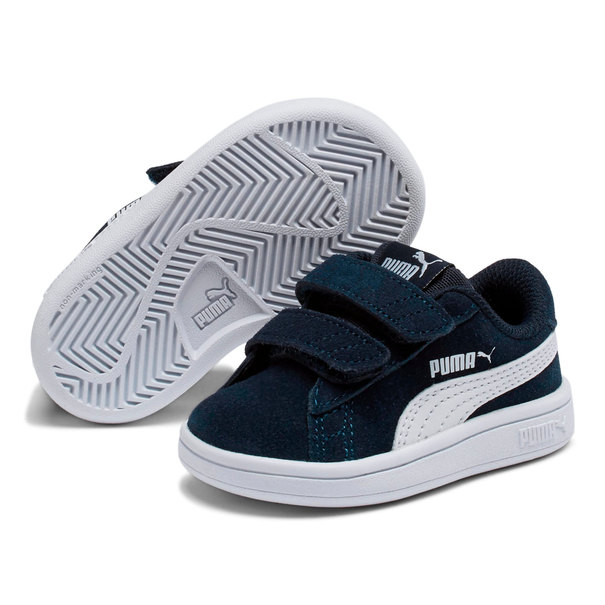Miniatura 2 de ZapatosPUMA Smash v2Suede para bebés, Peacoat-Puma White, mediano