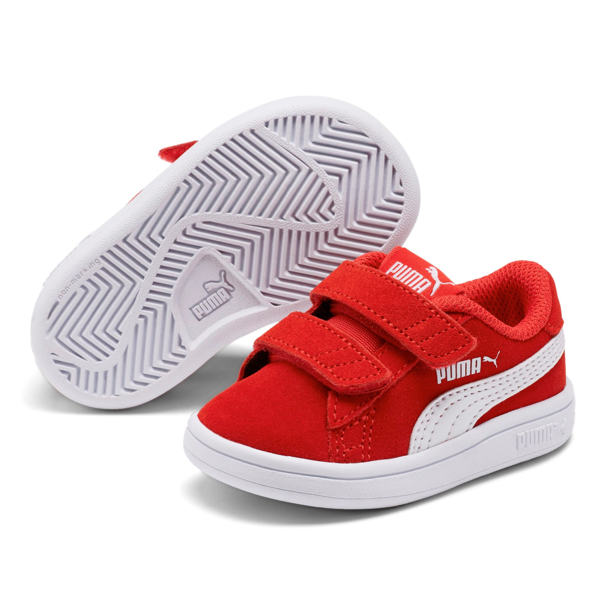 Thumbnail 2 of PUMA Smash v2 Suede Toddler Shoes, High Risk Red-Puma White, medium