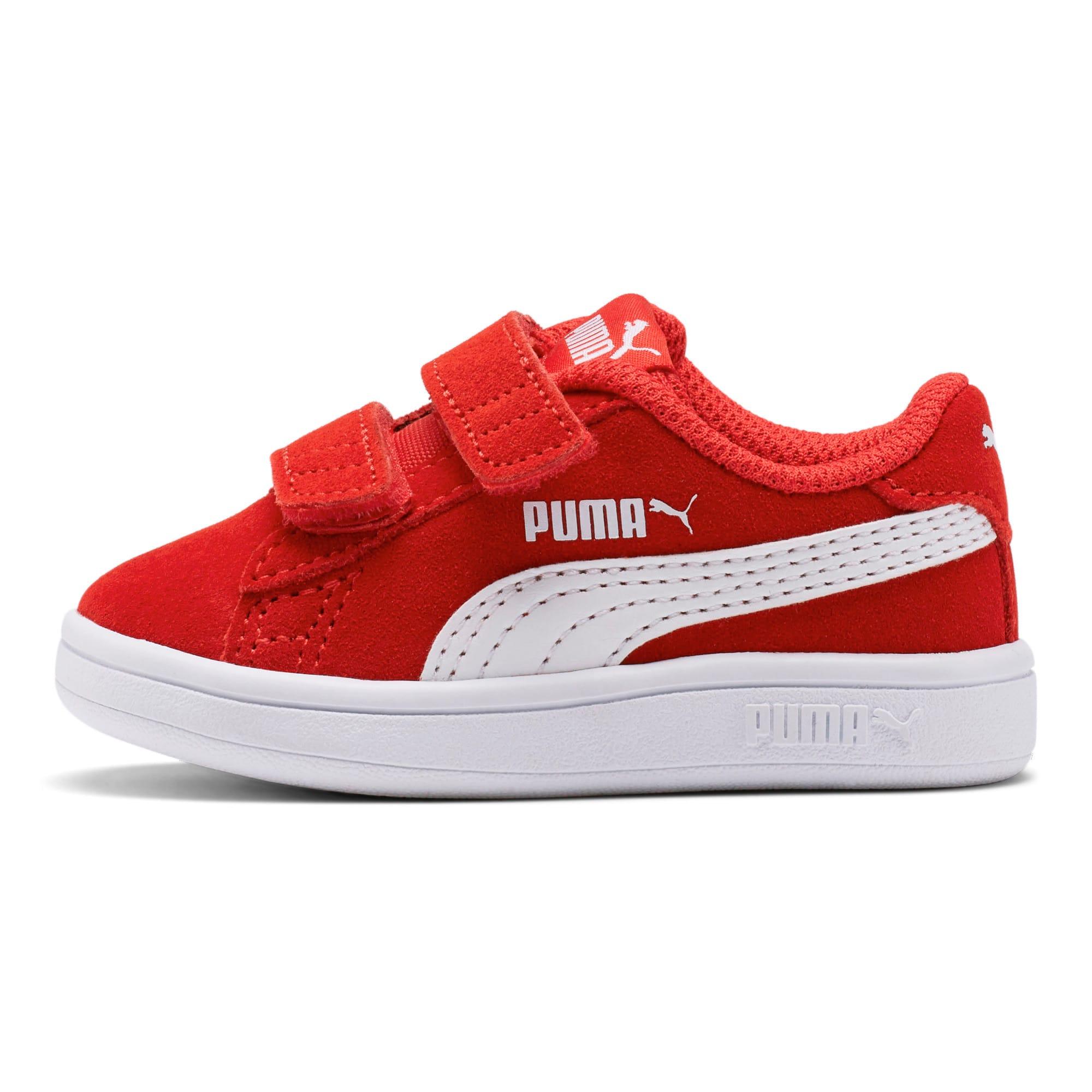 Thumbnail 1 of PUMA Smash v2 Suede Toddler Shoes, High Risk Red-Puma White, medium