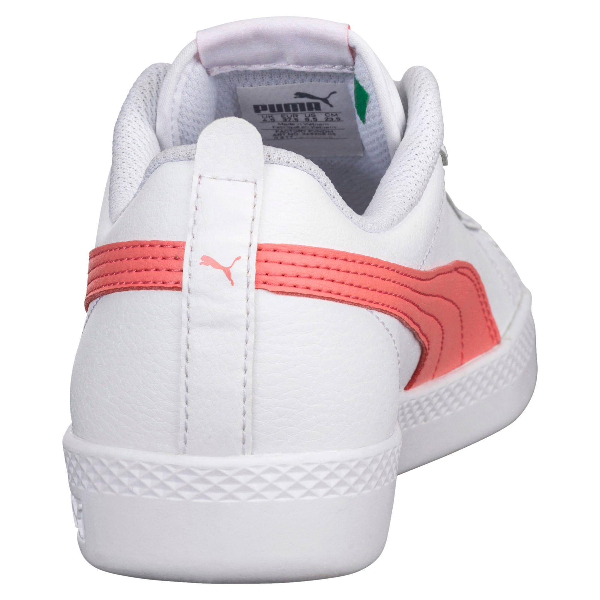 Thumbnail 3 of Smash v2 Leather Women's Trainers, Puma White-Shell Pink, medium-IND
