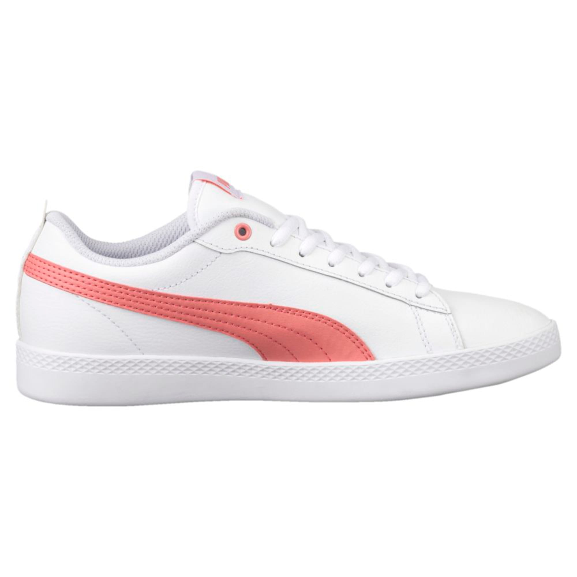 Thumbnail 2 of Smash v2 Leather Women's Trainers, Puma White-Shell Pink, medium-IND