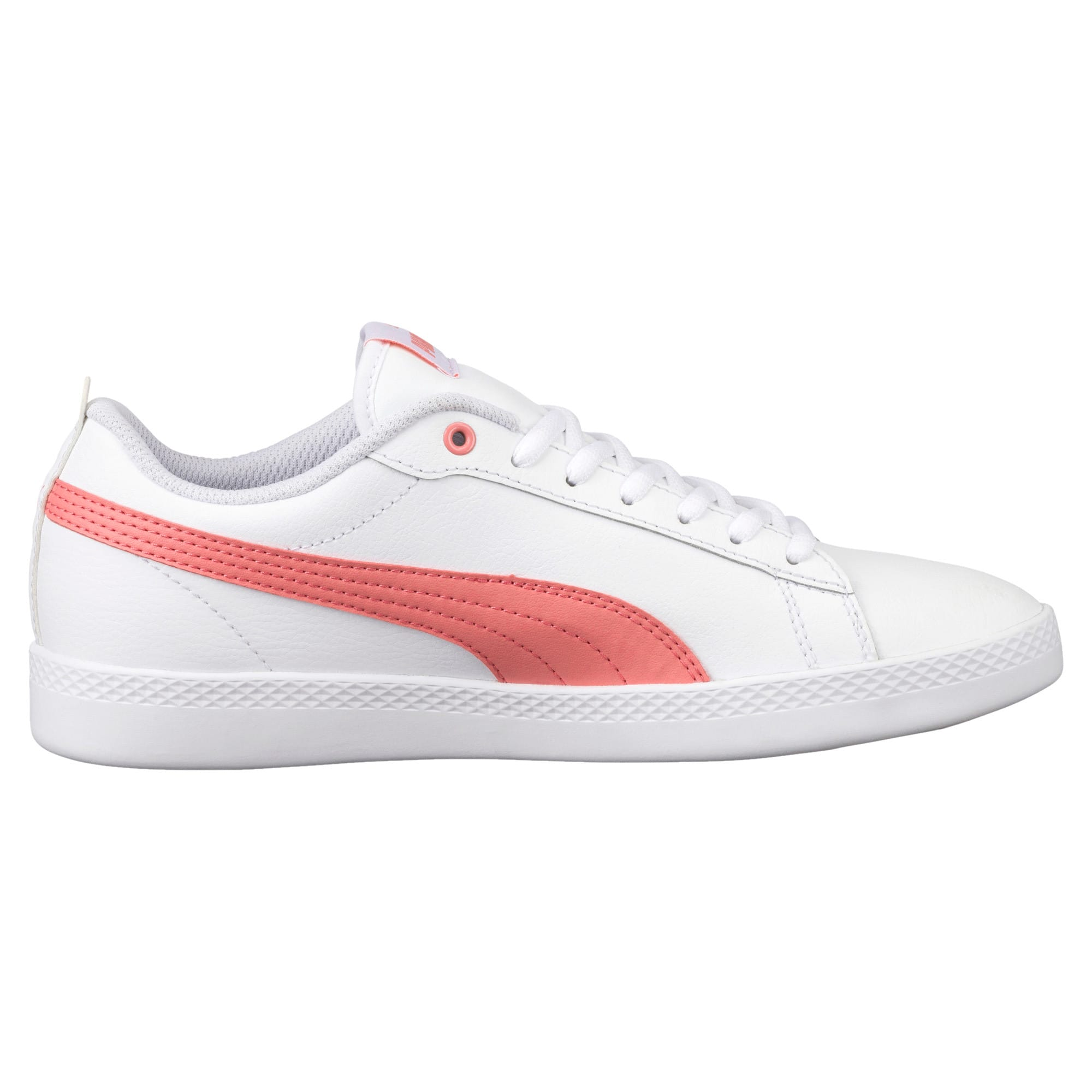 Thumbnail 4 of Smash v2 Leather Women's Trainers, Puma White-Shell Pink, medium-IND
