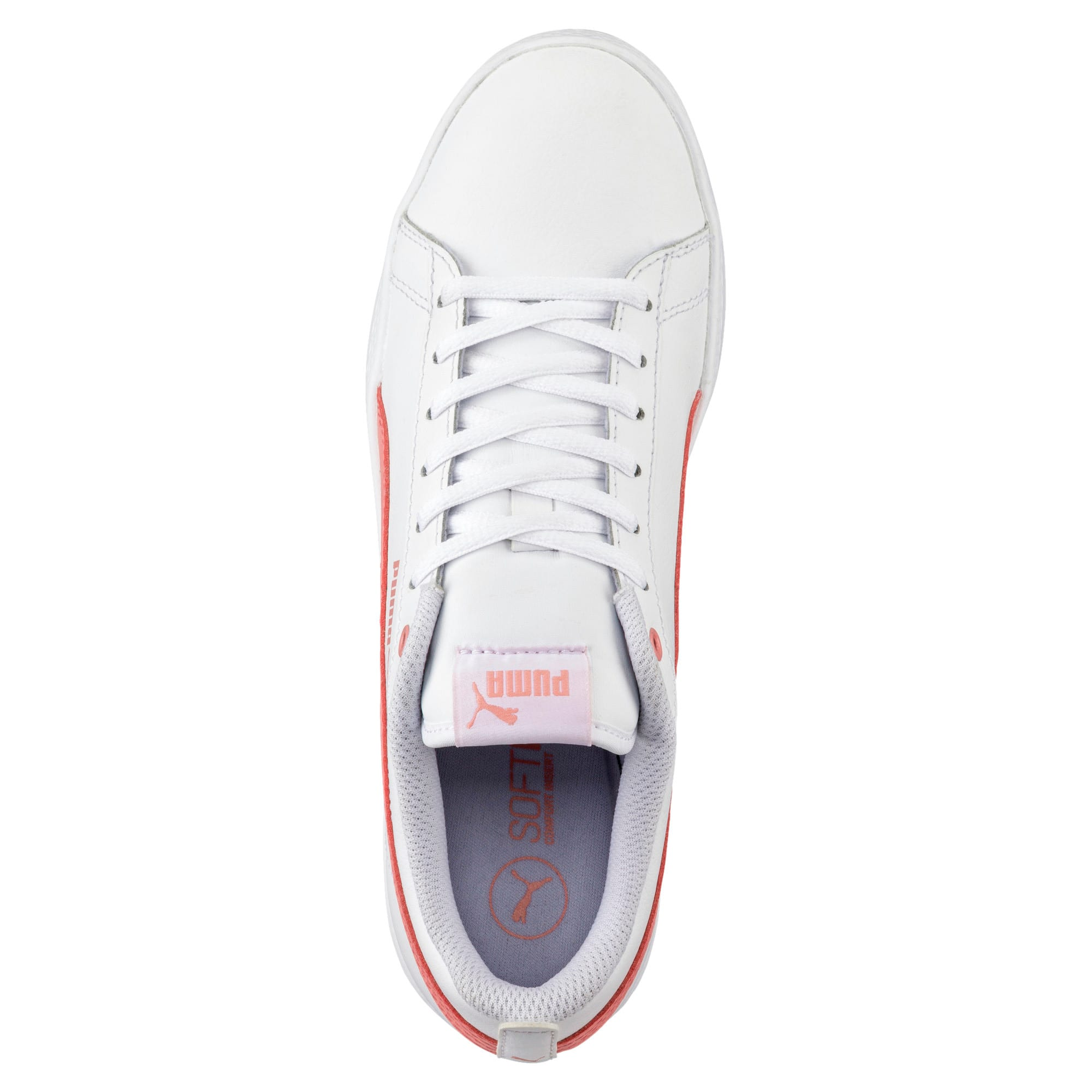 Thumbnail 5 of Smash v2 Leather Women's Trainers, Puma White-Shell Pink, medium-IND
