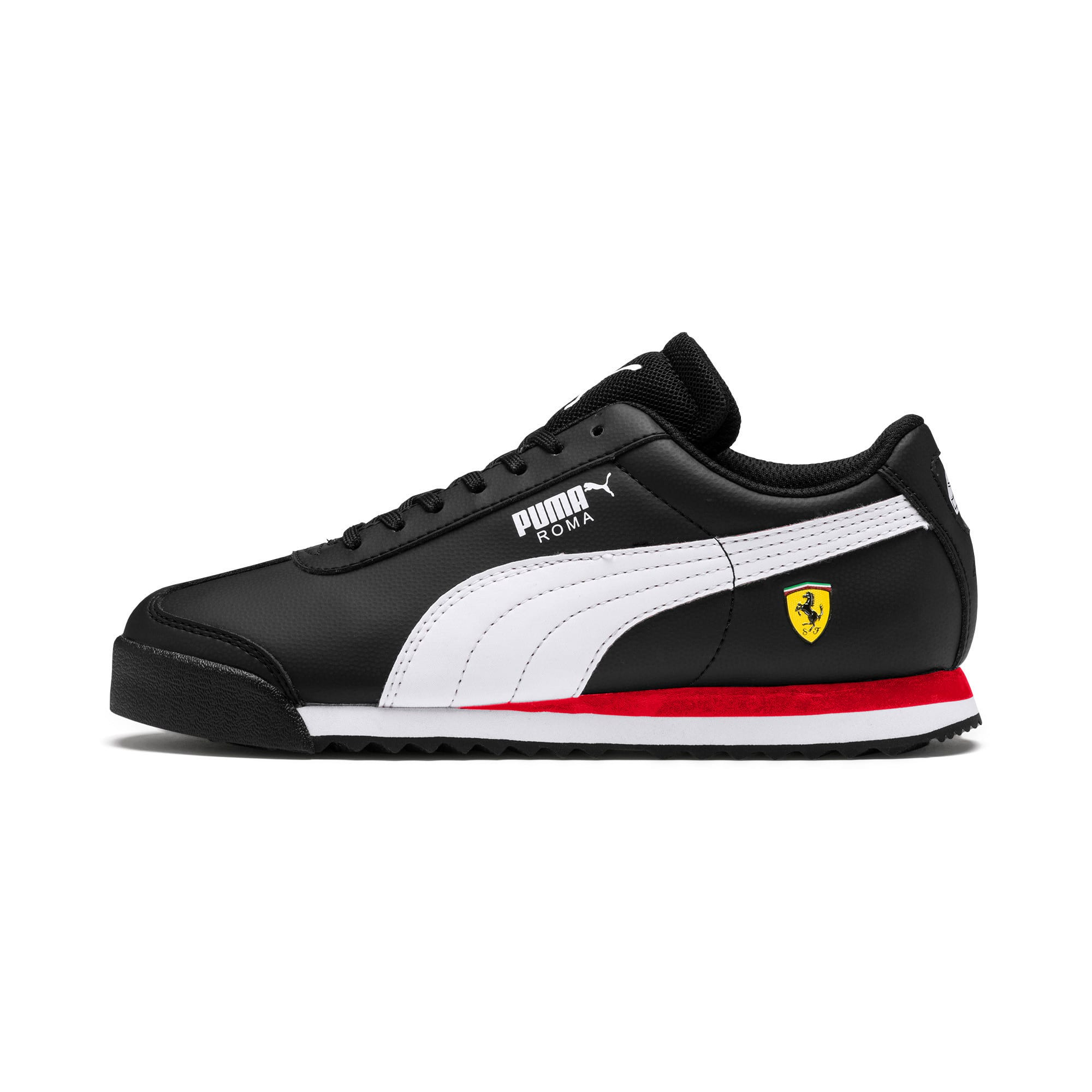 Thumbnail 1 of Ferrari Roma Youth Trainers, Black-White-Rosso Corsa, medium-IND