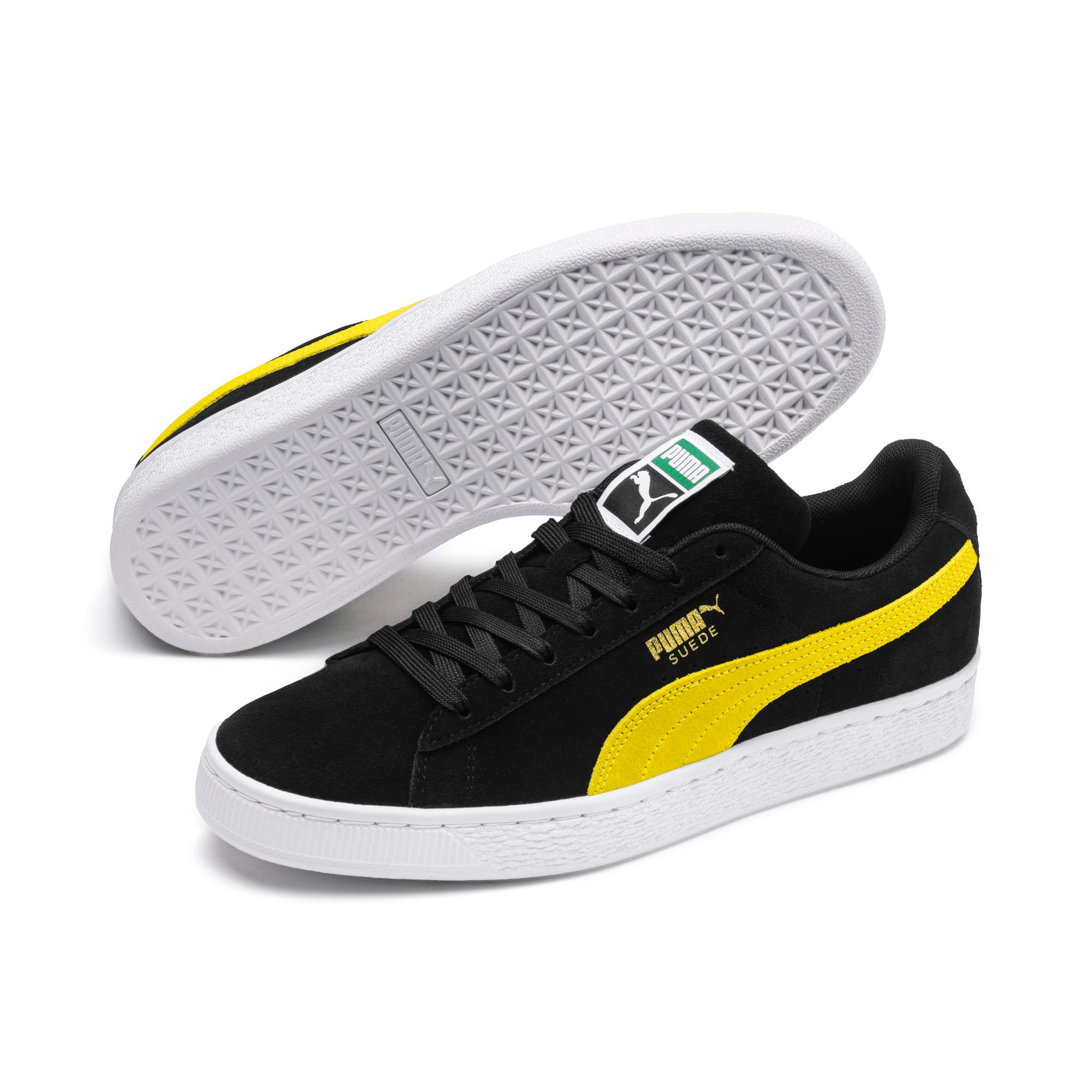 Thumbnail 2 of Suede Classic Trainers, Puma Black-Blazing Yellow, medium