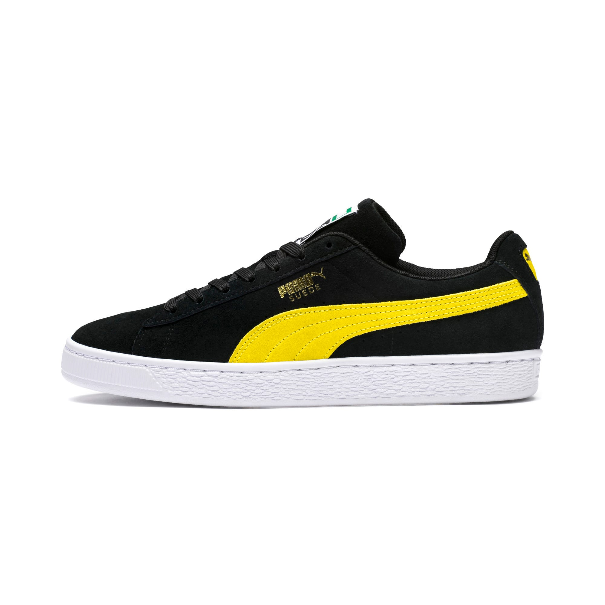 Thumbnail 1 of Suede Classic Trainers, Puma Black-Blazing Yellow, medium