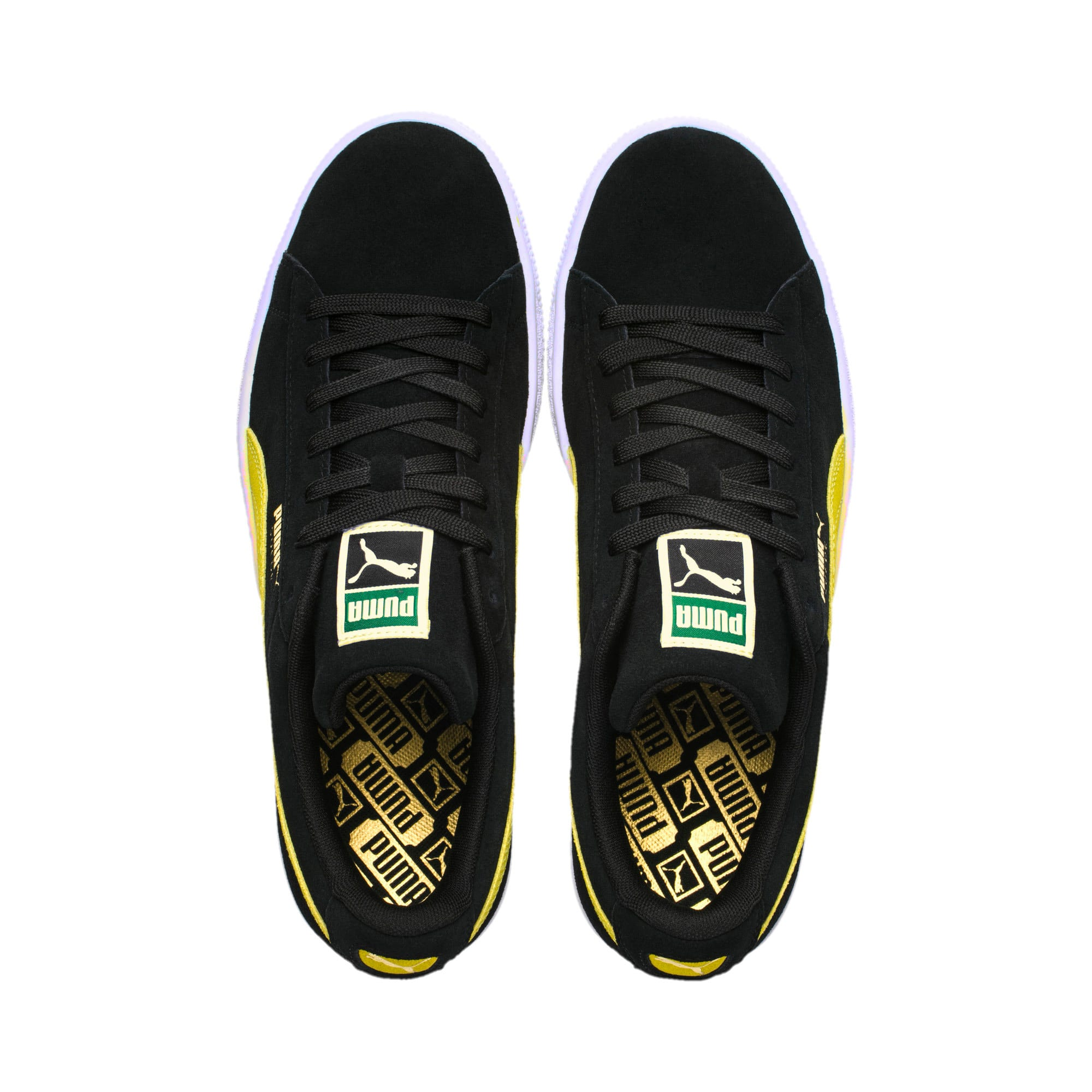 Thumbnail 6 of Suede Classic Trainers, Puma Black-Blazing Yellow, medium