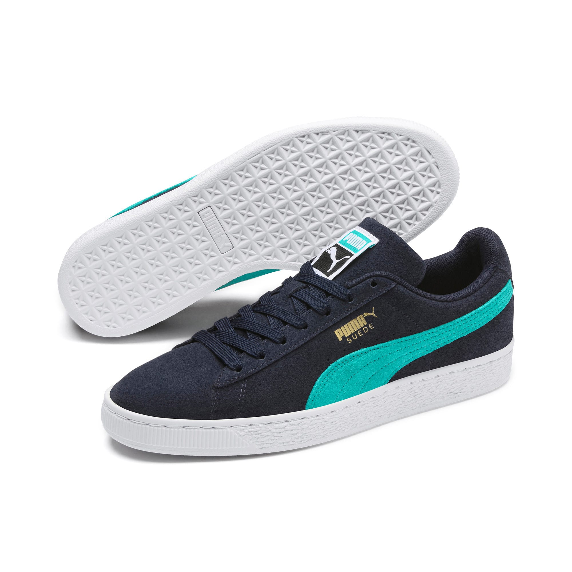 Thumbnail 3 of Suede Classic Trainers, Peacoat-Blue Turquoise-P Wht, medium