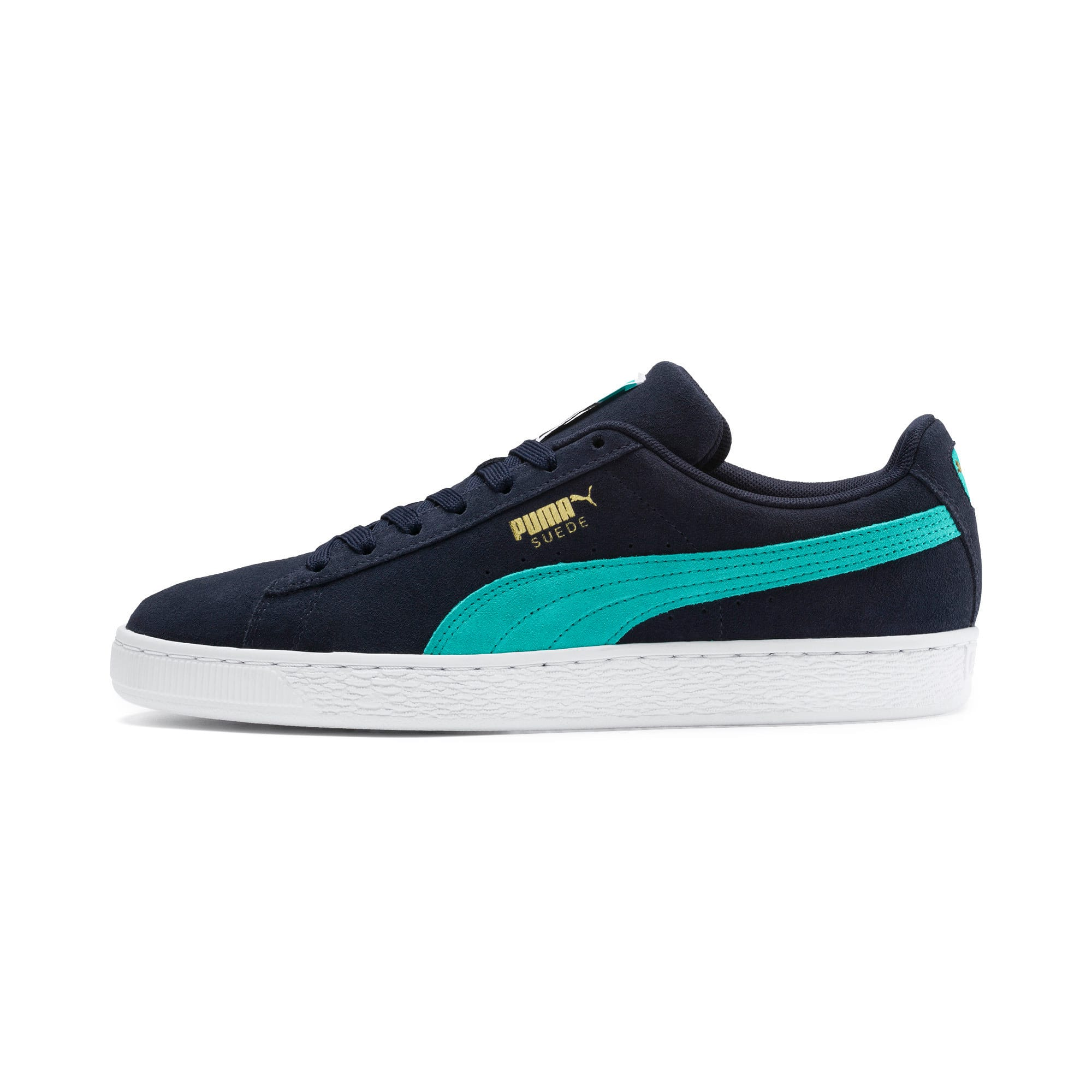 Thumbnail 1 of Suede Classic Trainers, Peacoat-Blue Turquoise-P Wht, medium