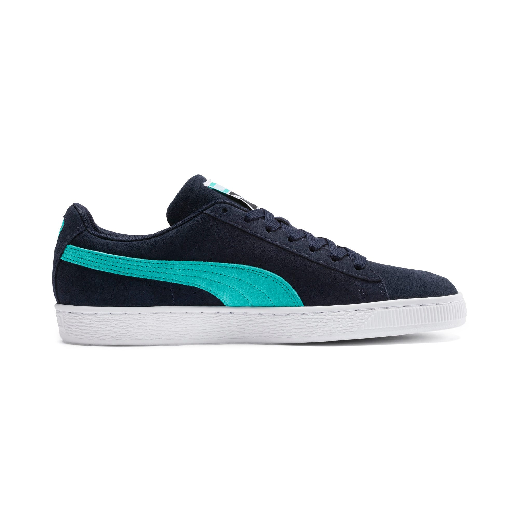 Thumbnail 6 of Suede Classic Trainers, Peacoat-Blue Turquoise-P Wht, medium