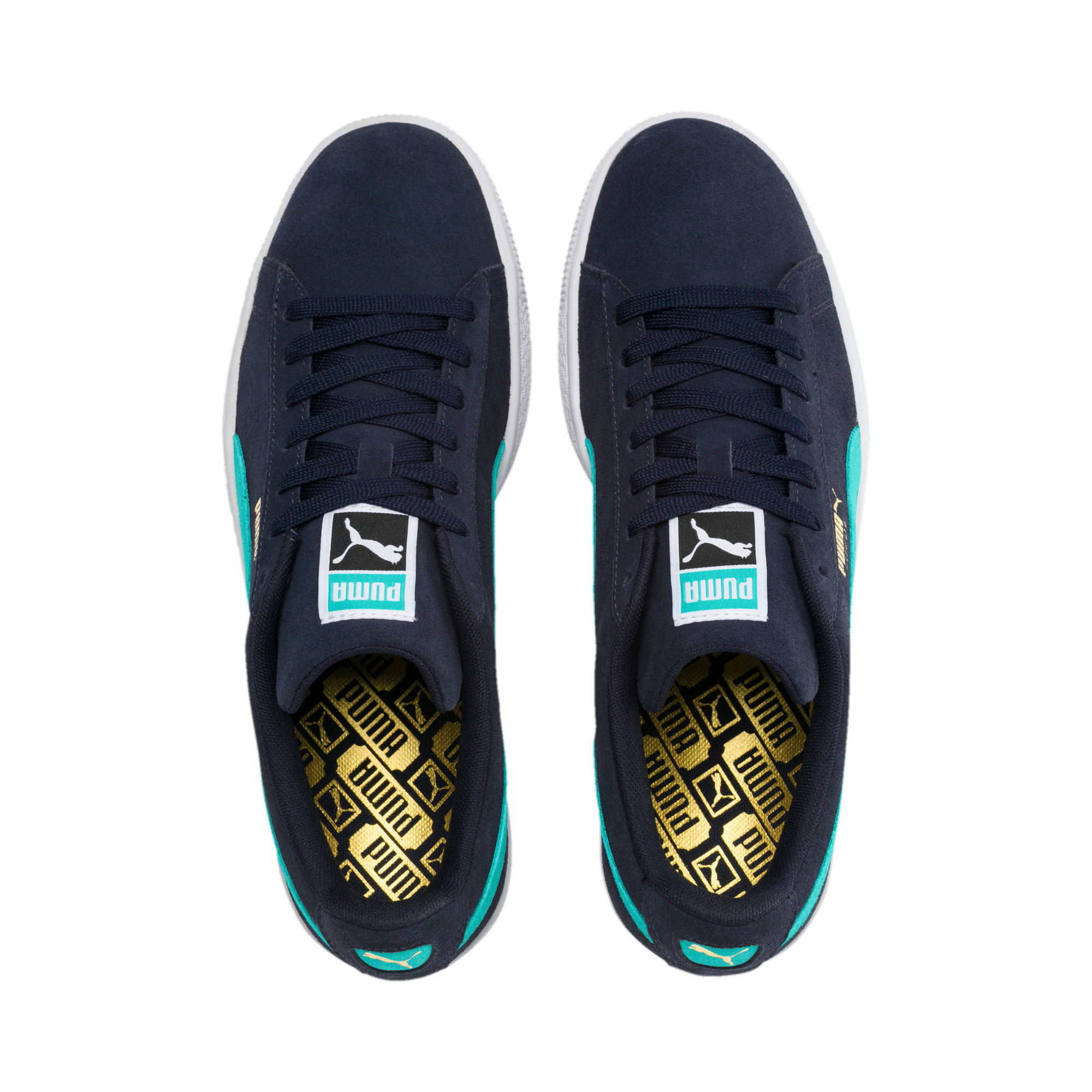 Thumbnail 7 of Suede Classic Trainers, Peacoat-Blue Turquoise-P Wht, medium