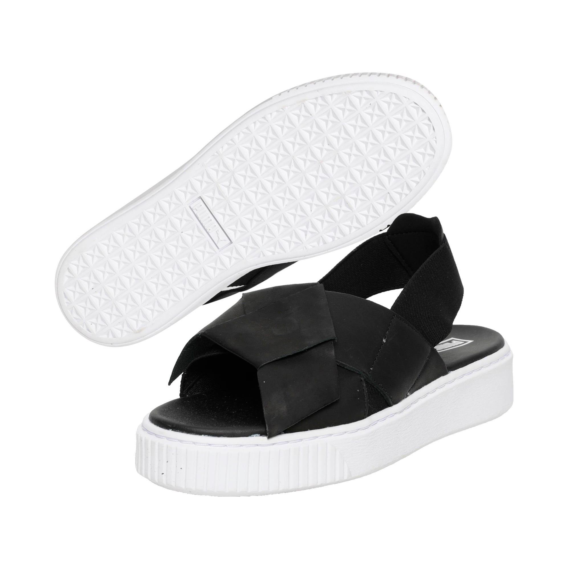 Thumbnail 3 of Platform Leather Women's Sandals, Puma Black-Puma Black, medium-IND