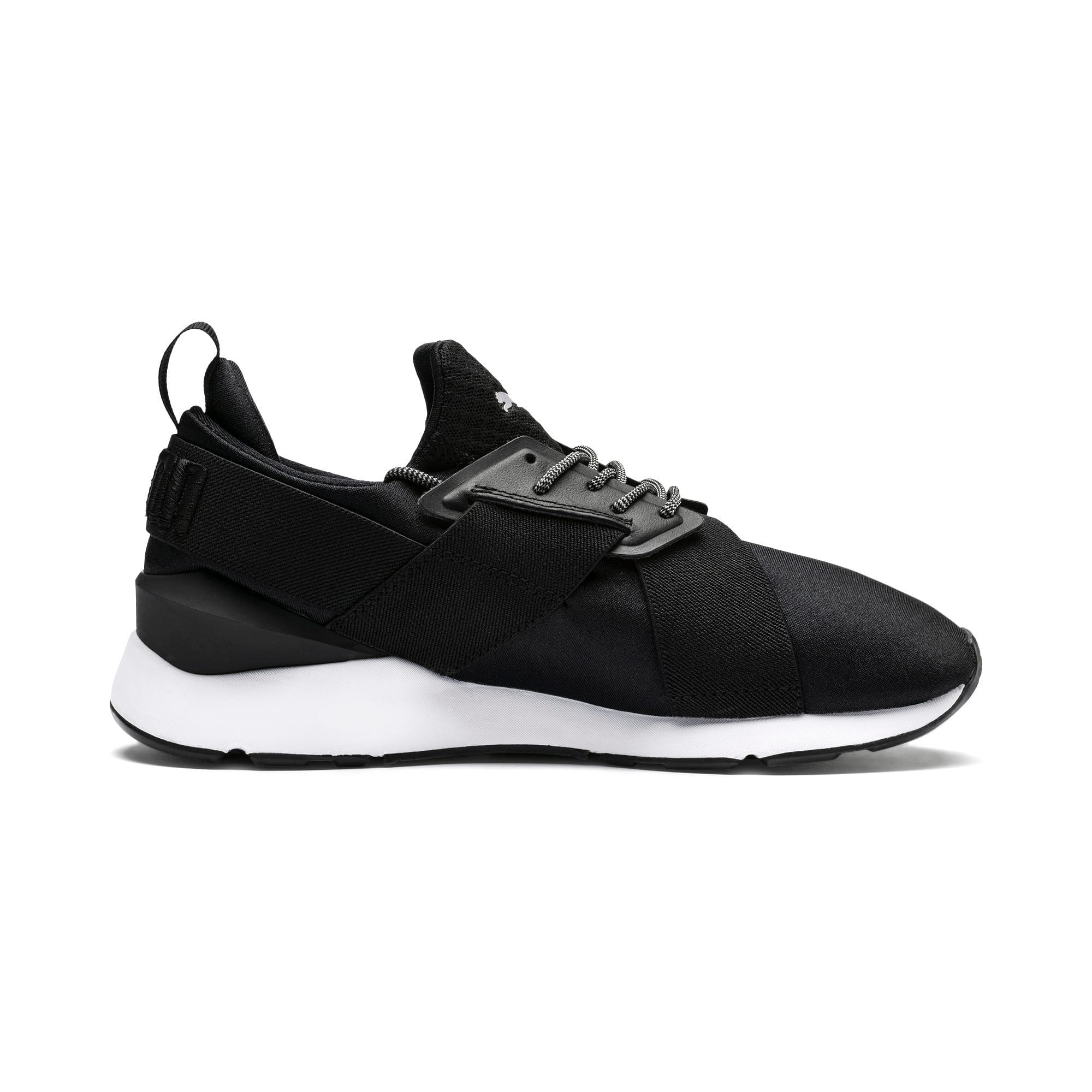 Thumbnail 5 of En Pointe Muse Satin Women's Sneakers, Puma Black-Puma White, medium
