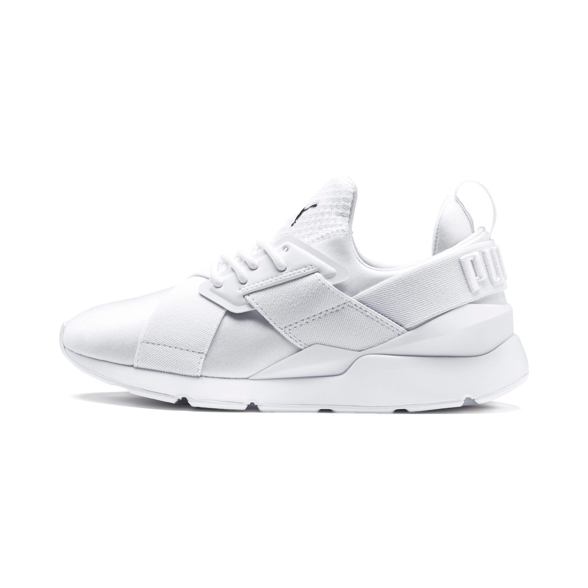 Thumbnail 1 of En Pointe Muse Satin Women's Sneakers, Puma White-Puma White, medium