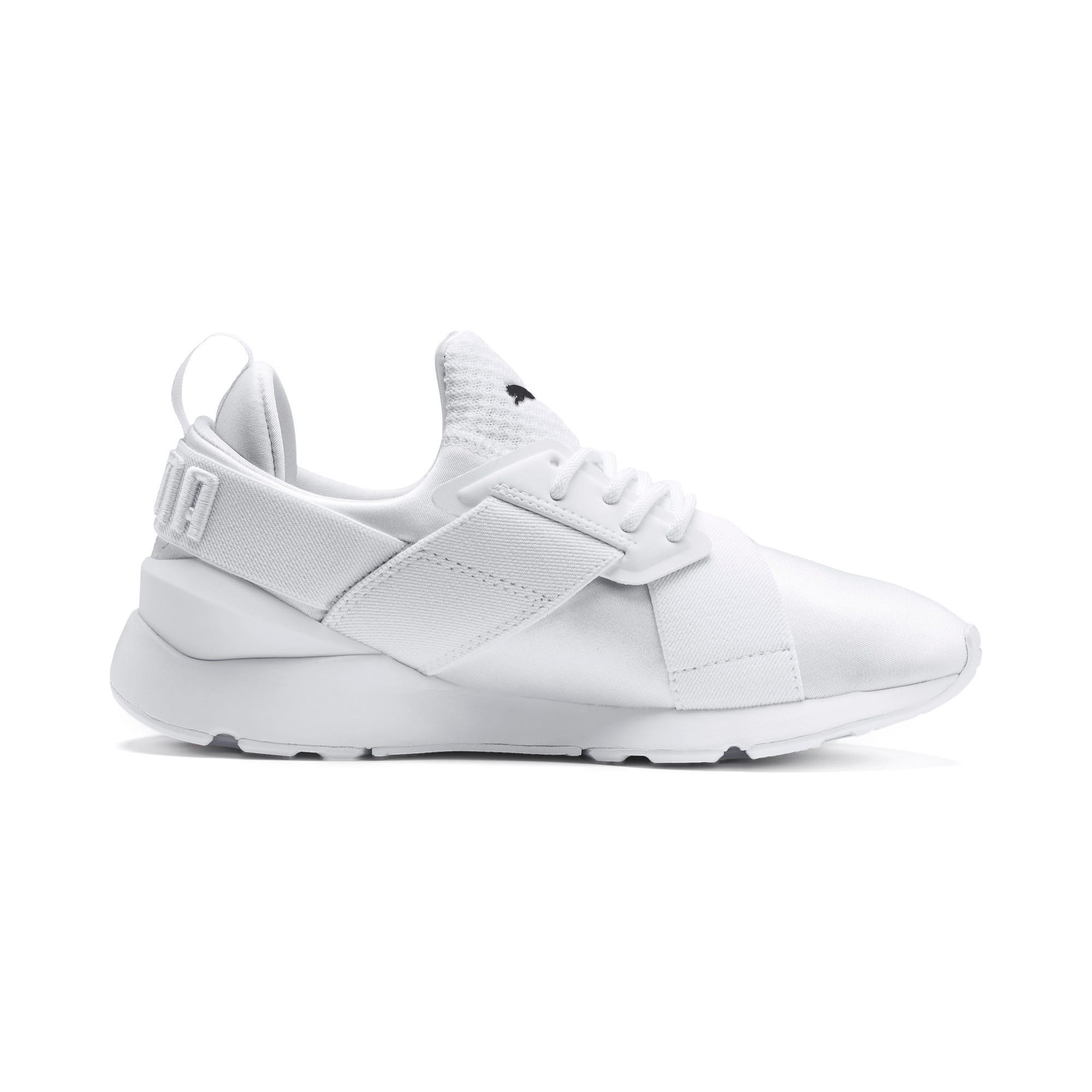 Thumbnail 5 of En Pointe Muse Satin Women's Sneakers, Puma White-Puma White, medium